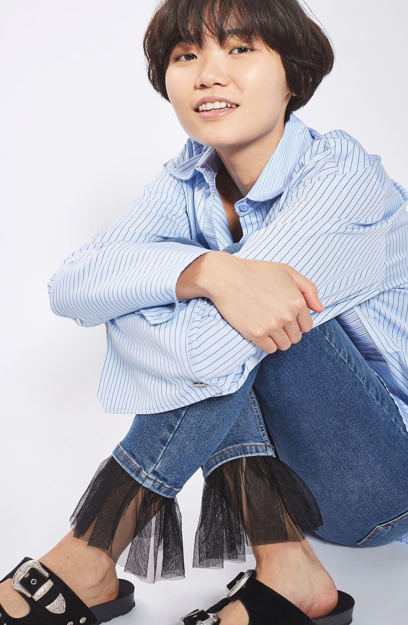 Alternate Image 2  - Topshop Jamie Tulle Hem Skinny Jeans