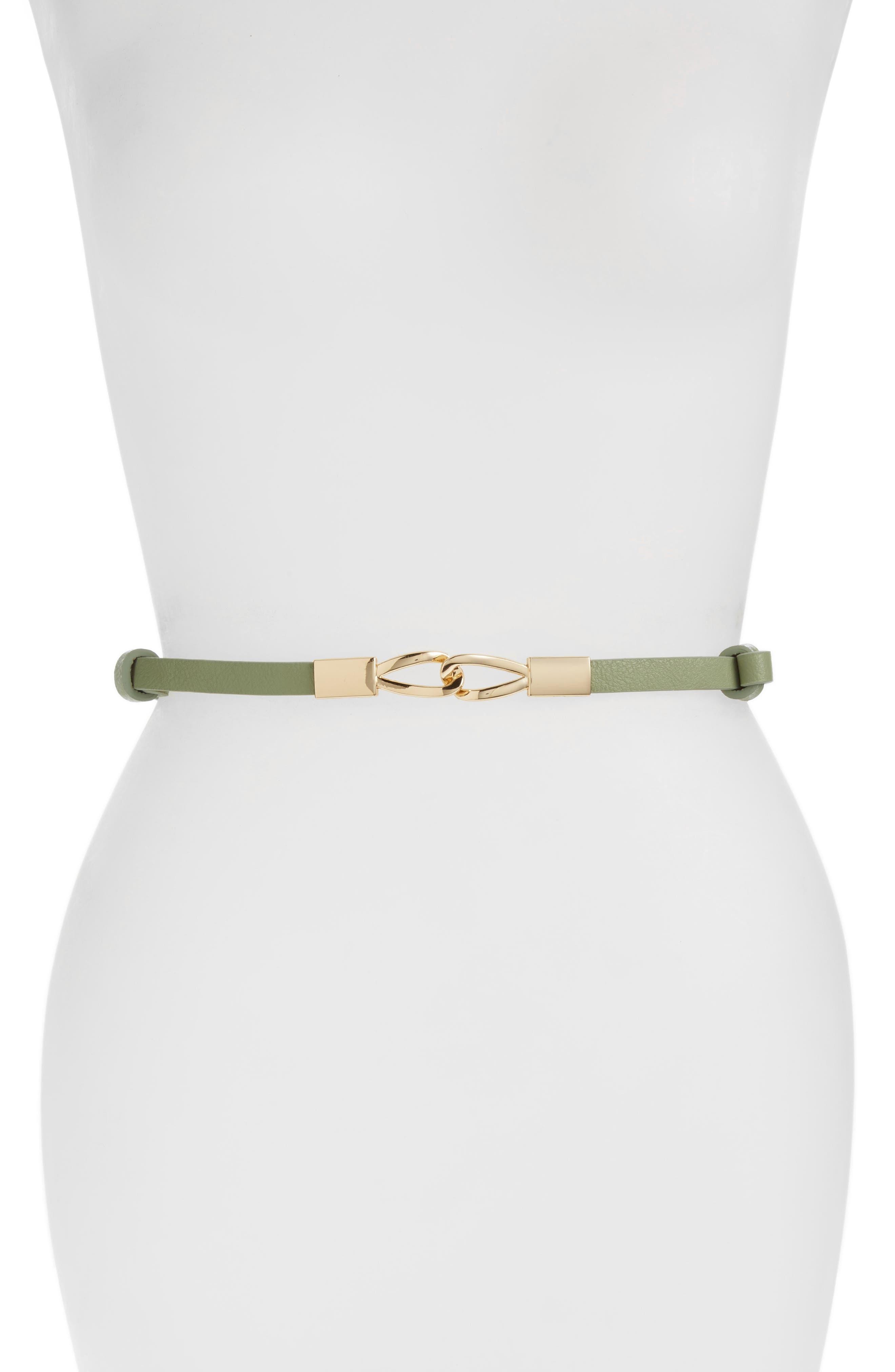 ELISE M. 'Kristen' Faux Leather Skinny Belt
