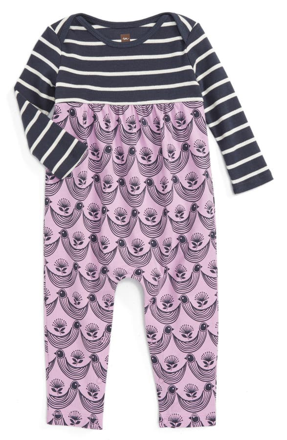 Main Image - Tea Collection Mix Print Romper (Baby Girls)
