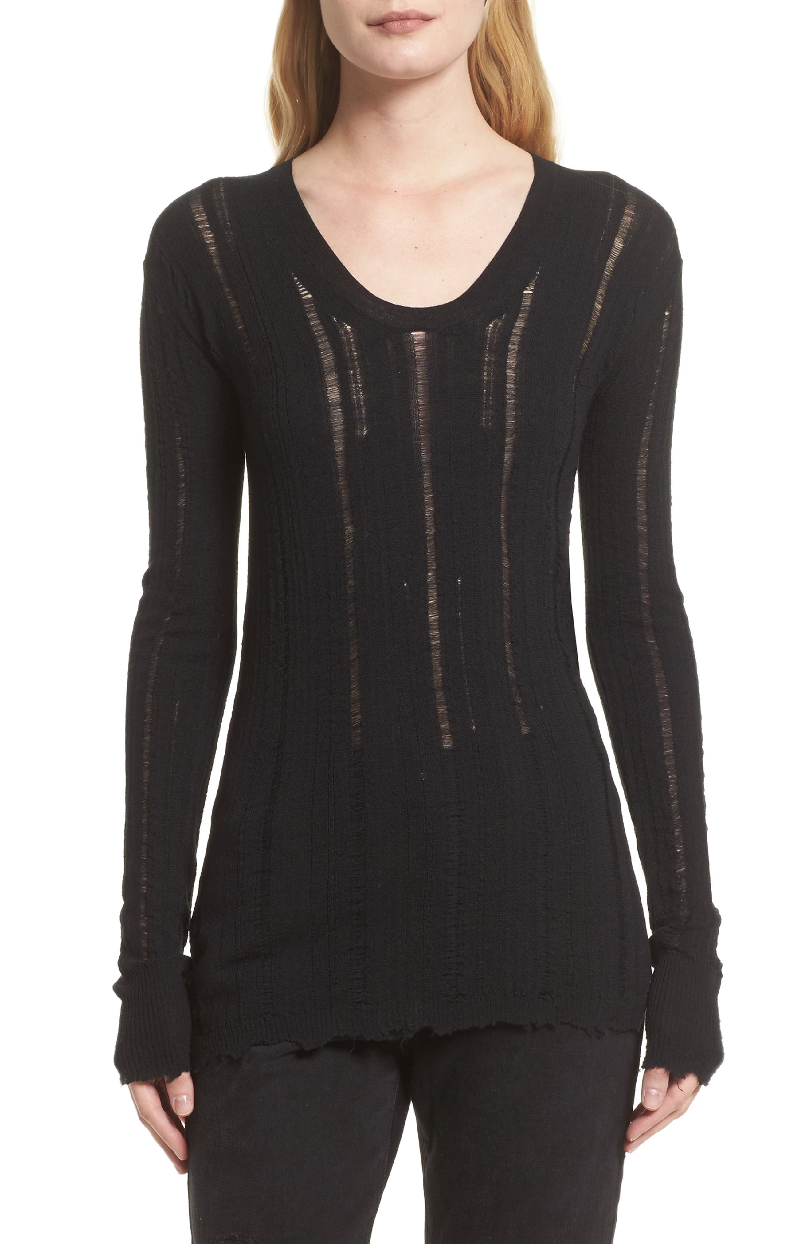 Helmut Lang Distressed Merino Wool Pullover (Nordstrom Exclusive)