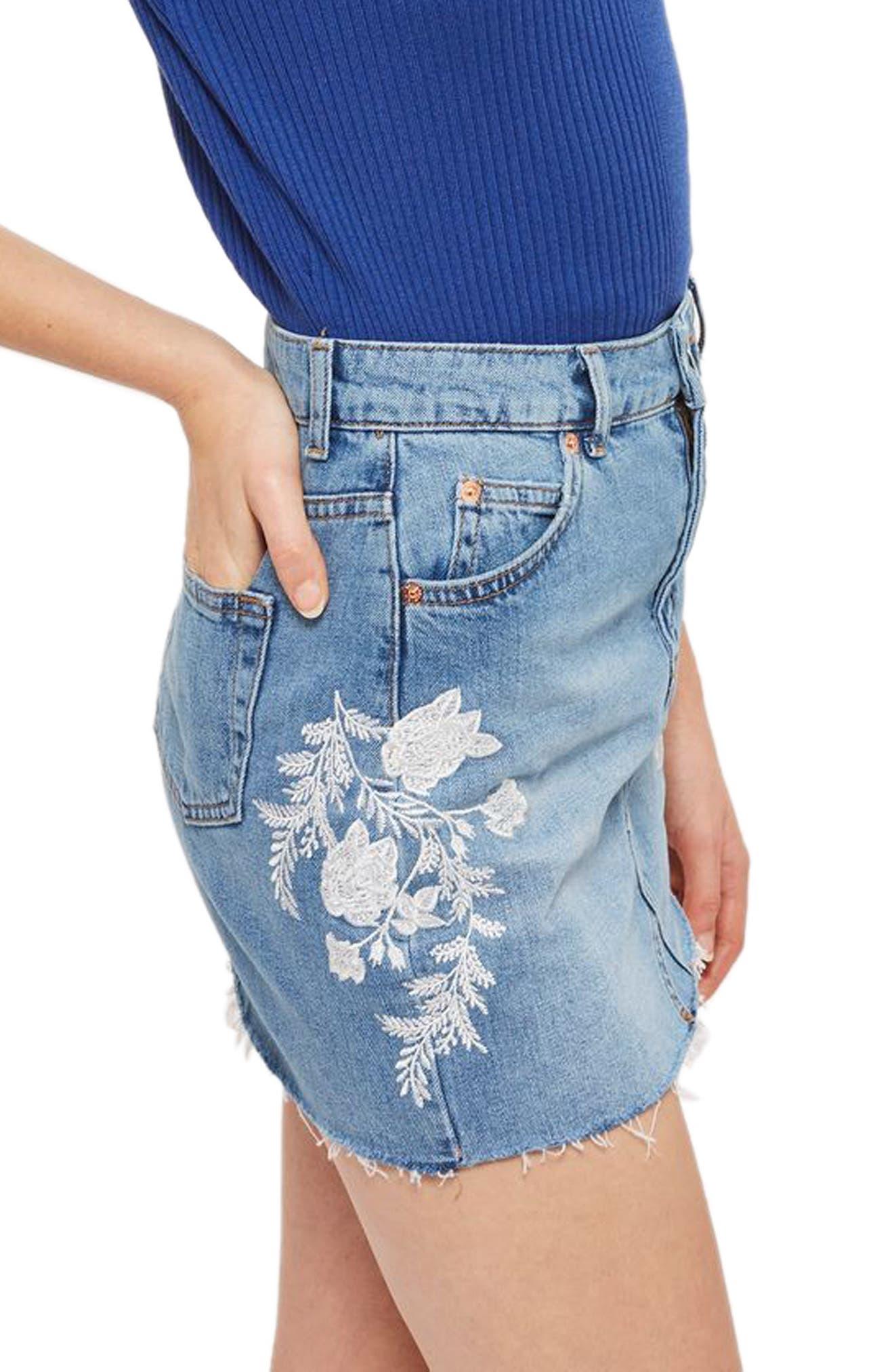 Alternate Image 3  - Topshop Embroidered Denim Miniskirt