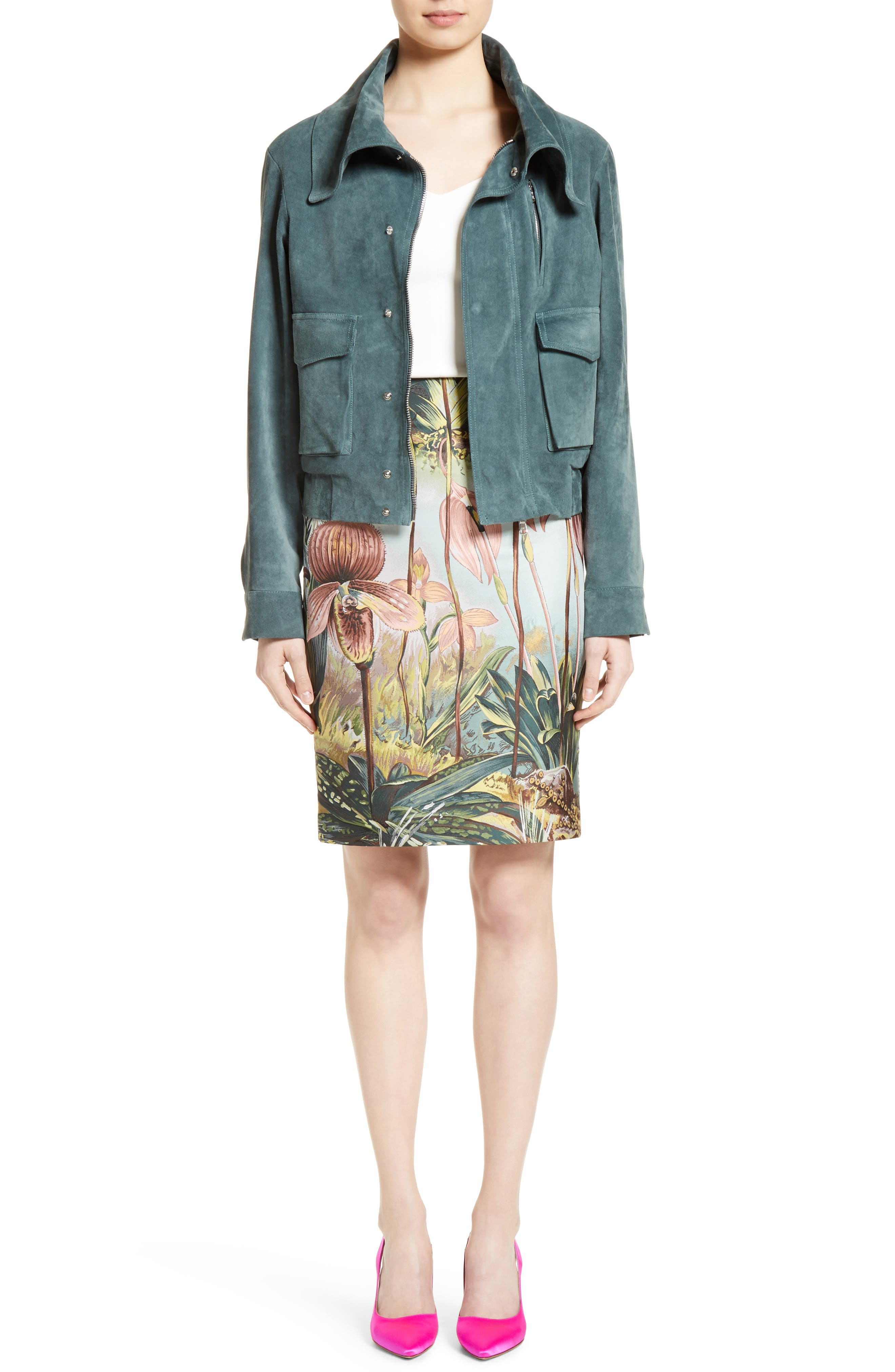 Alternate Image 8  - Adam Lippes Orchid Print Jacquard Pencil Skirt