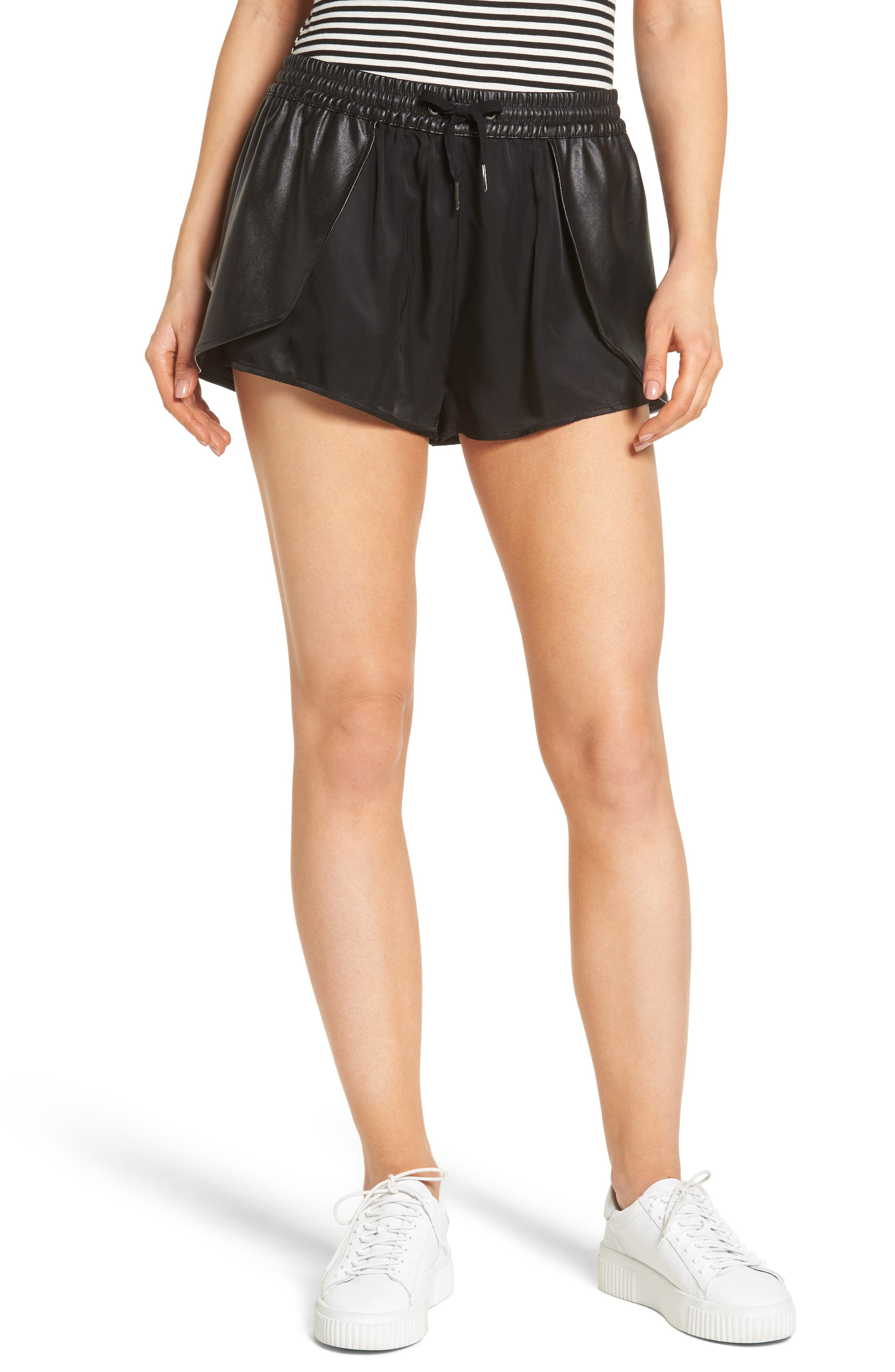 BLANKNYC Hugs & Kisses Faux Leather Trim Skort