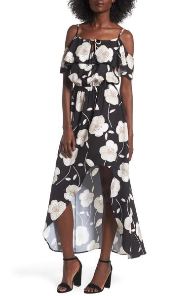 Main Image - Mimi Chica Cold Shoulder Asymmetrical Maxi Dress