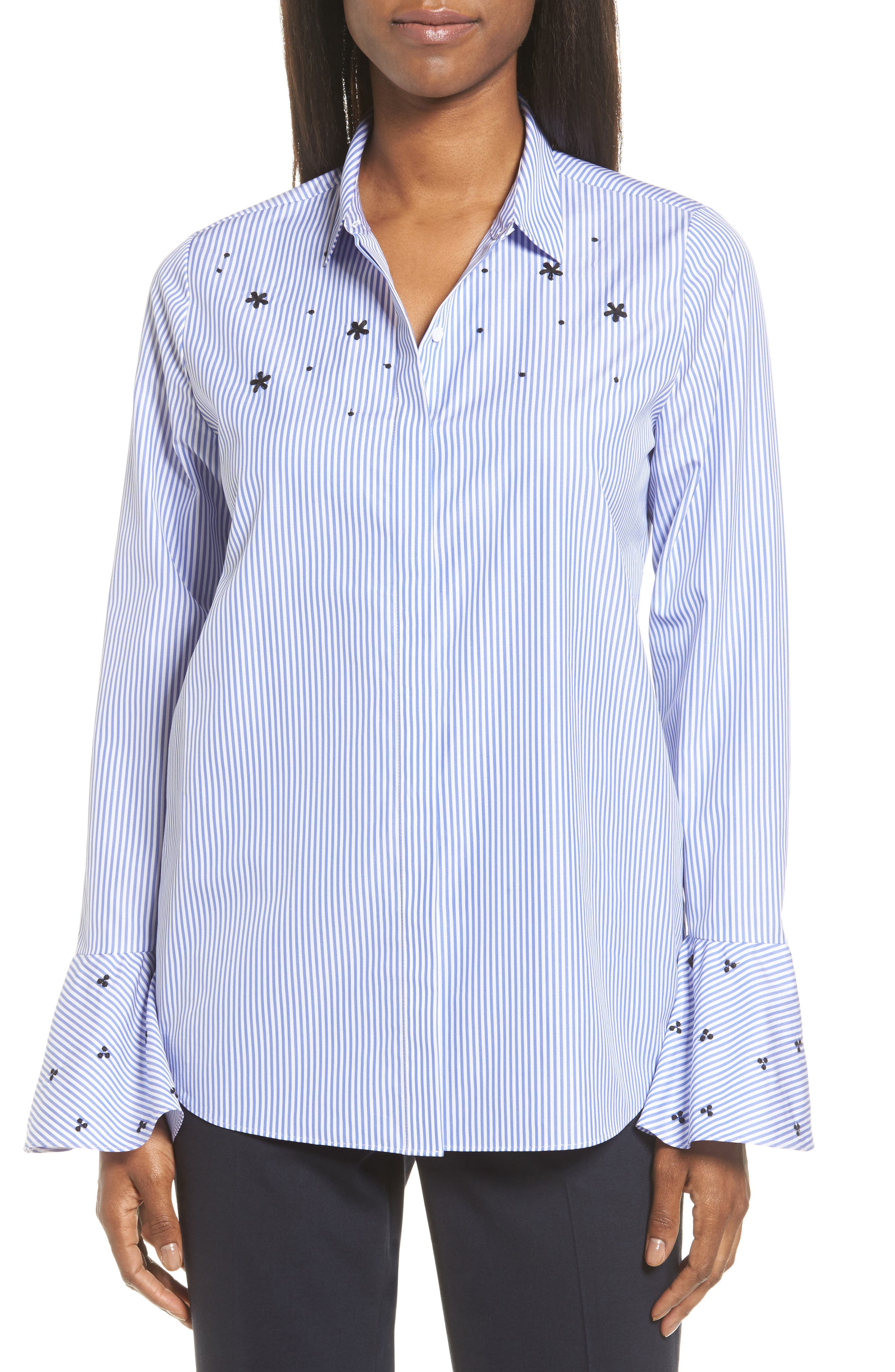 Classiques Entier® Embroidered Stripe Poplin Blouse