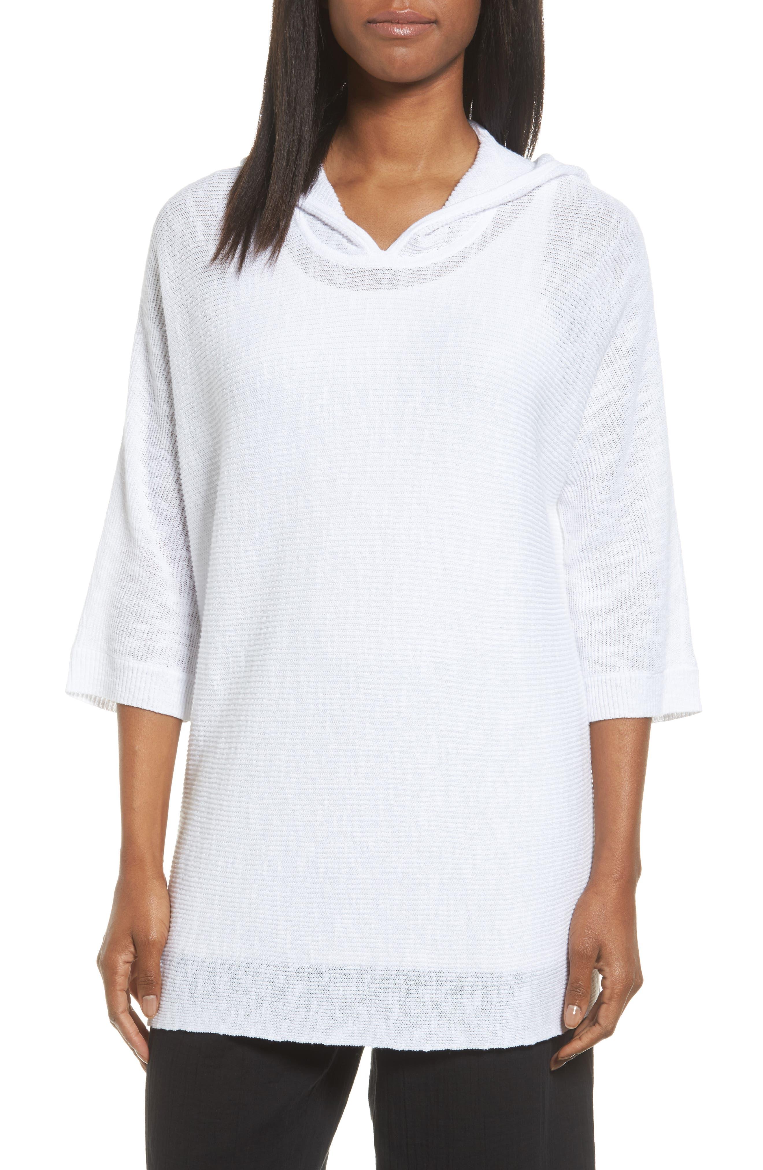Eileen Fisher Organic Linen & Cotton Hooded Sweater
