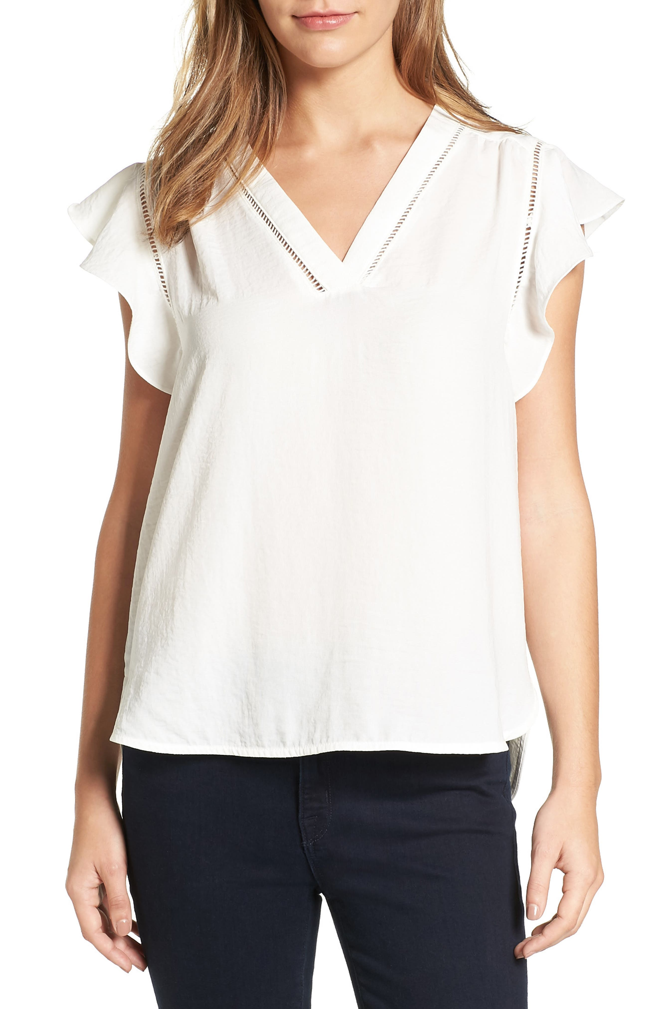 Main Image - Halogen® Flutter Sleeve Top (Regular & Petite)
