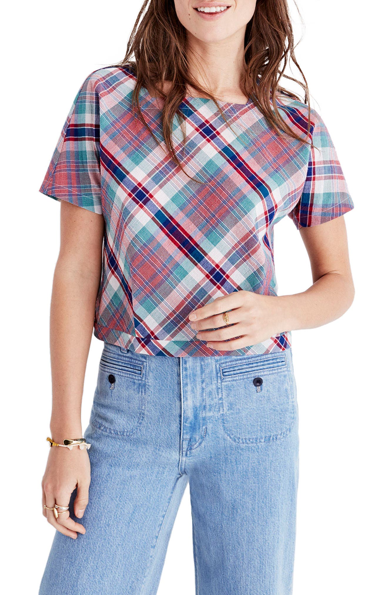 Alternate Image 1 Selected - Madewell Plaid Tie Back Top