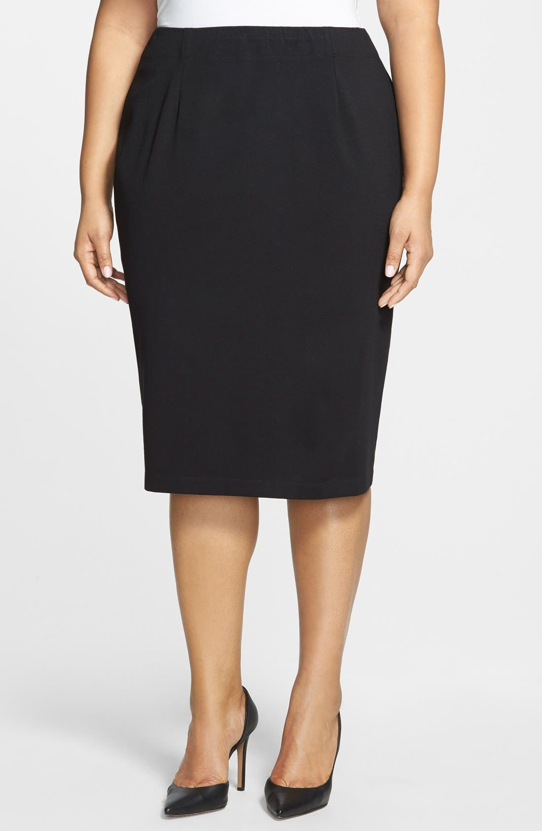 Alternate Image 1 Selected - Eileen Fisher Ponte Knit Pencil Skirt (Plus)