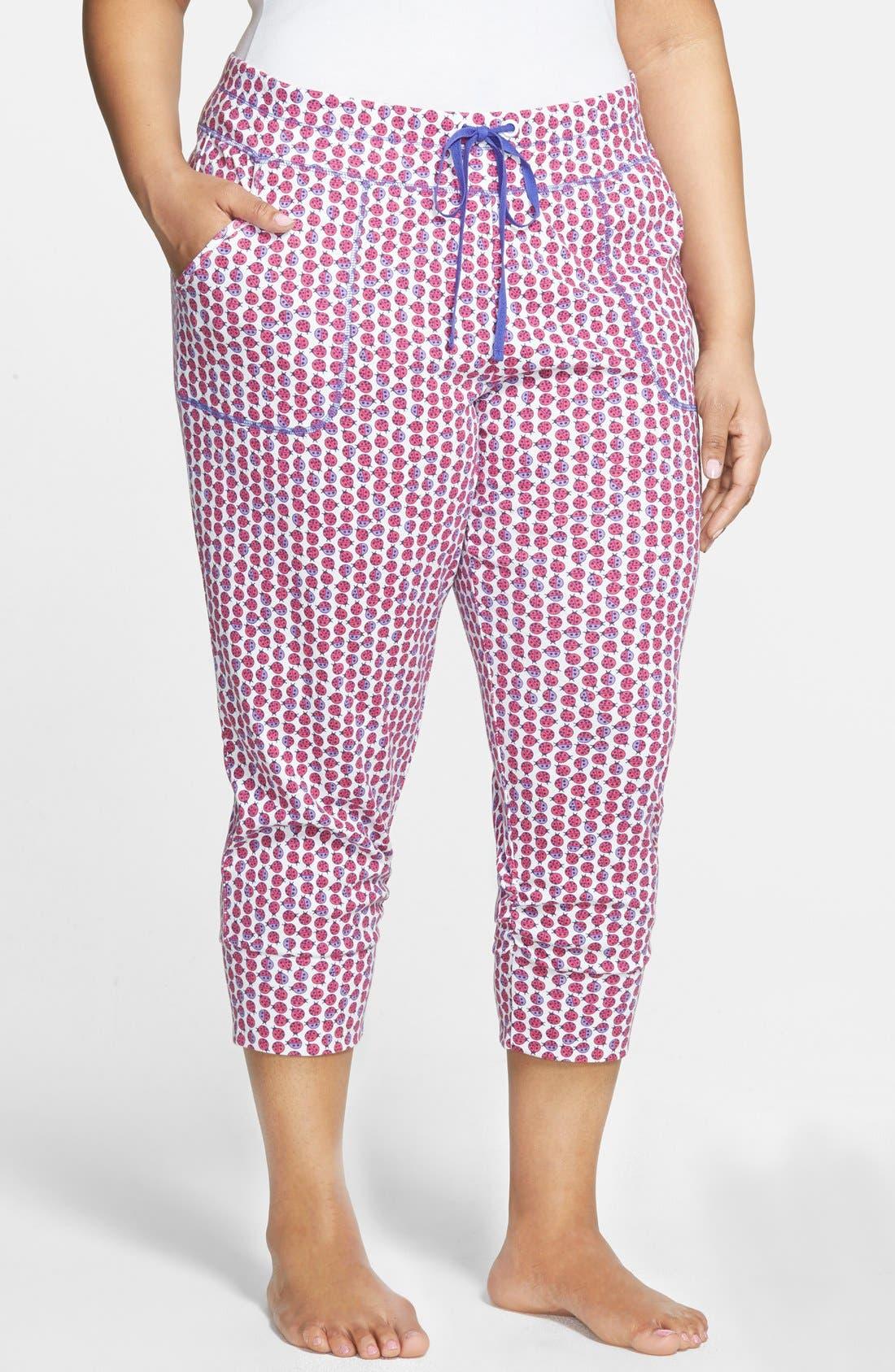 Alternate Image 1 Selected - Jane & Bleecker New York Print Rib Knit Capri Leggings (Plus Size)