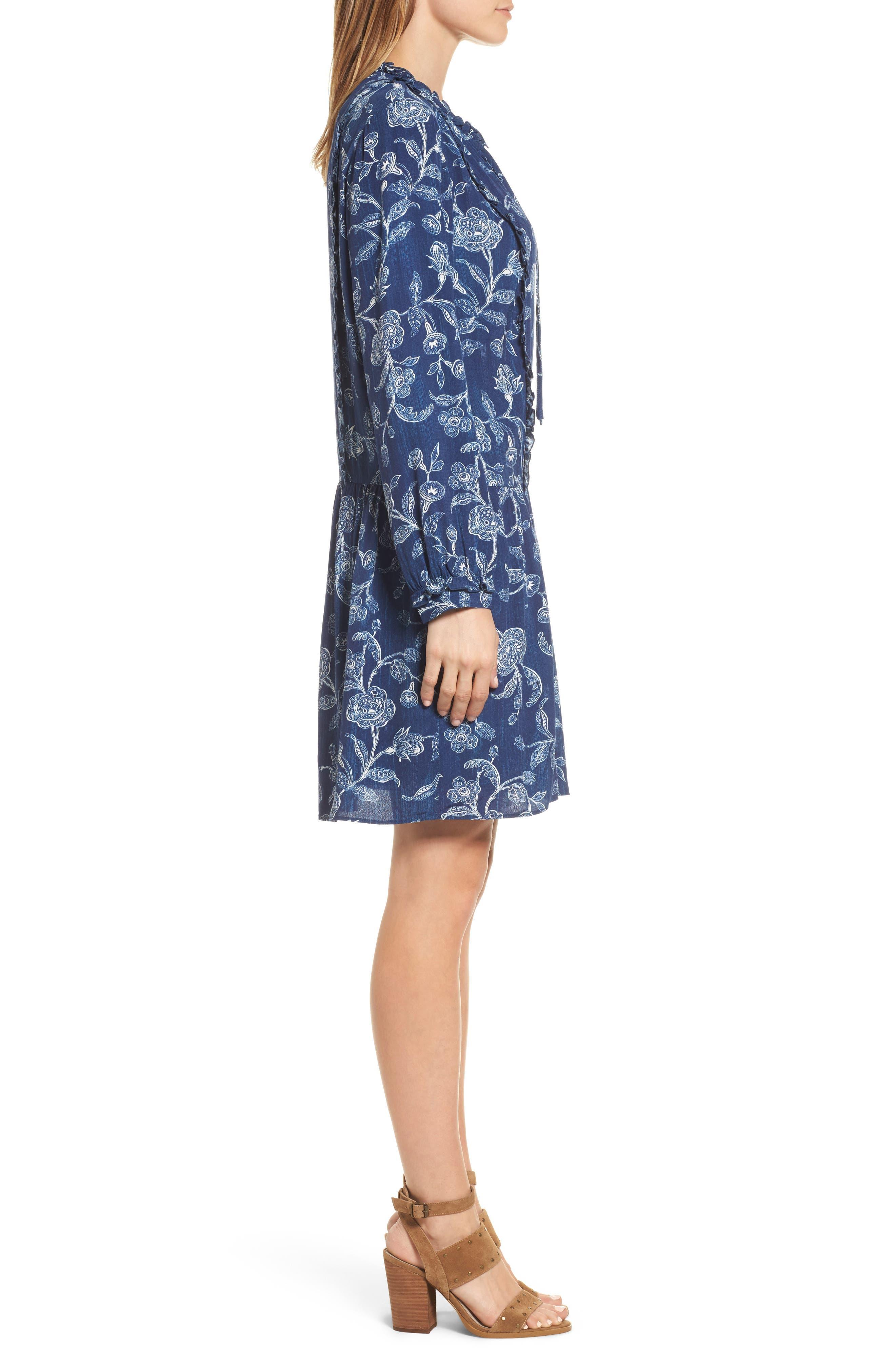 Alternate Image 3  - Caslon® Ruffle Split Neck Dress (Regular & Petite)
