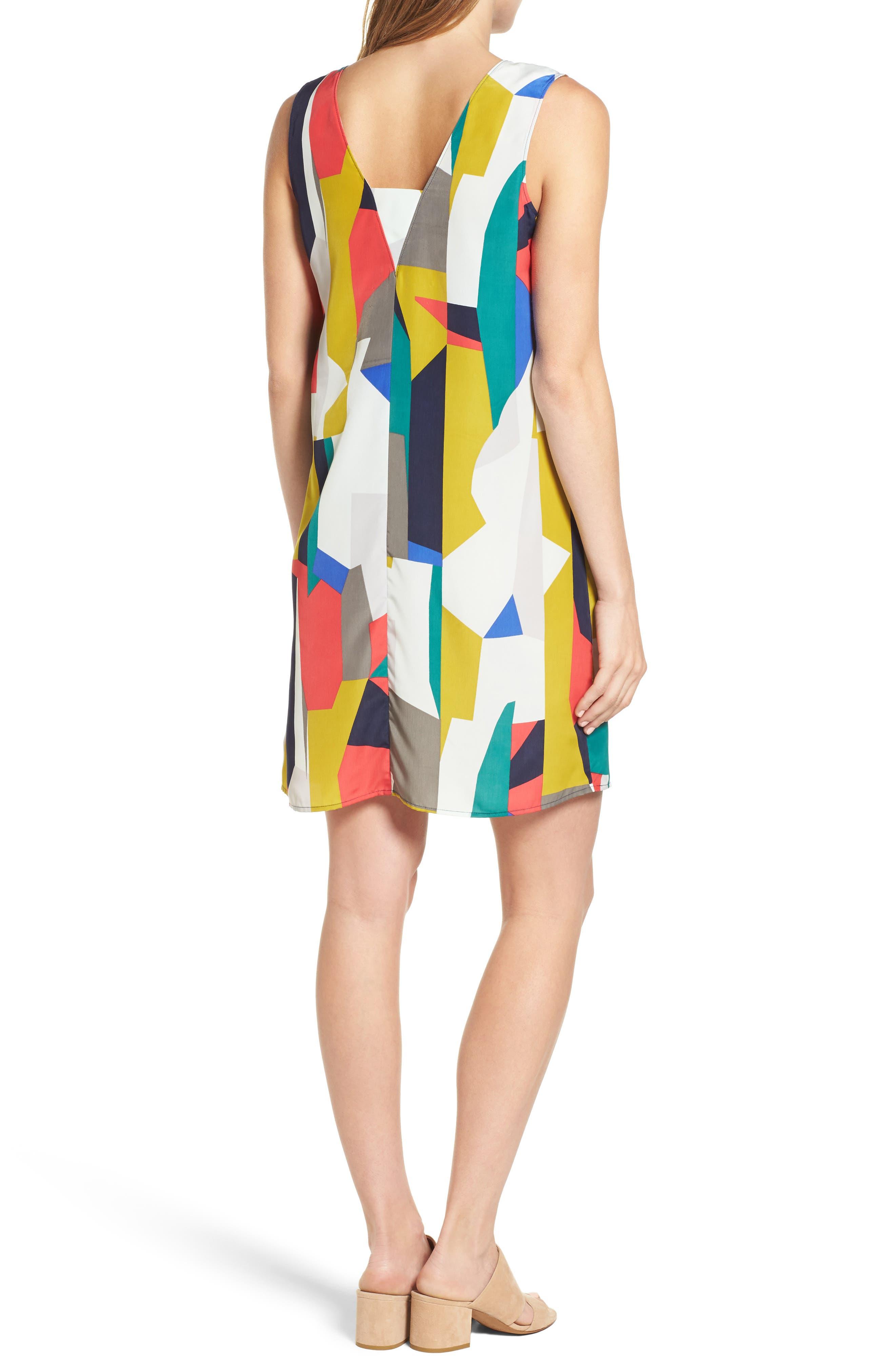 Alternate Image 2  - Halogen® V-Neck Shift Dress (Regular & Petite)