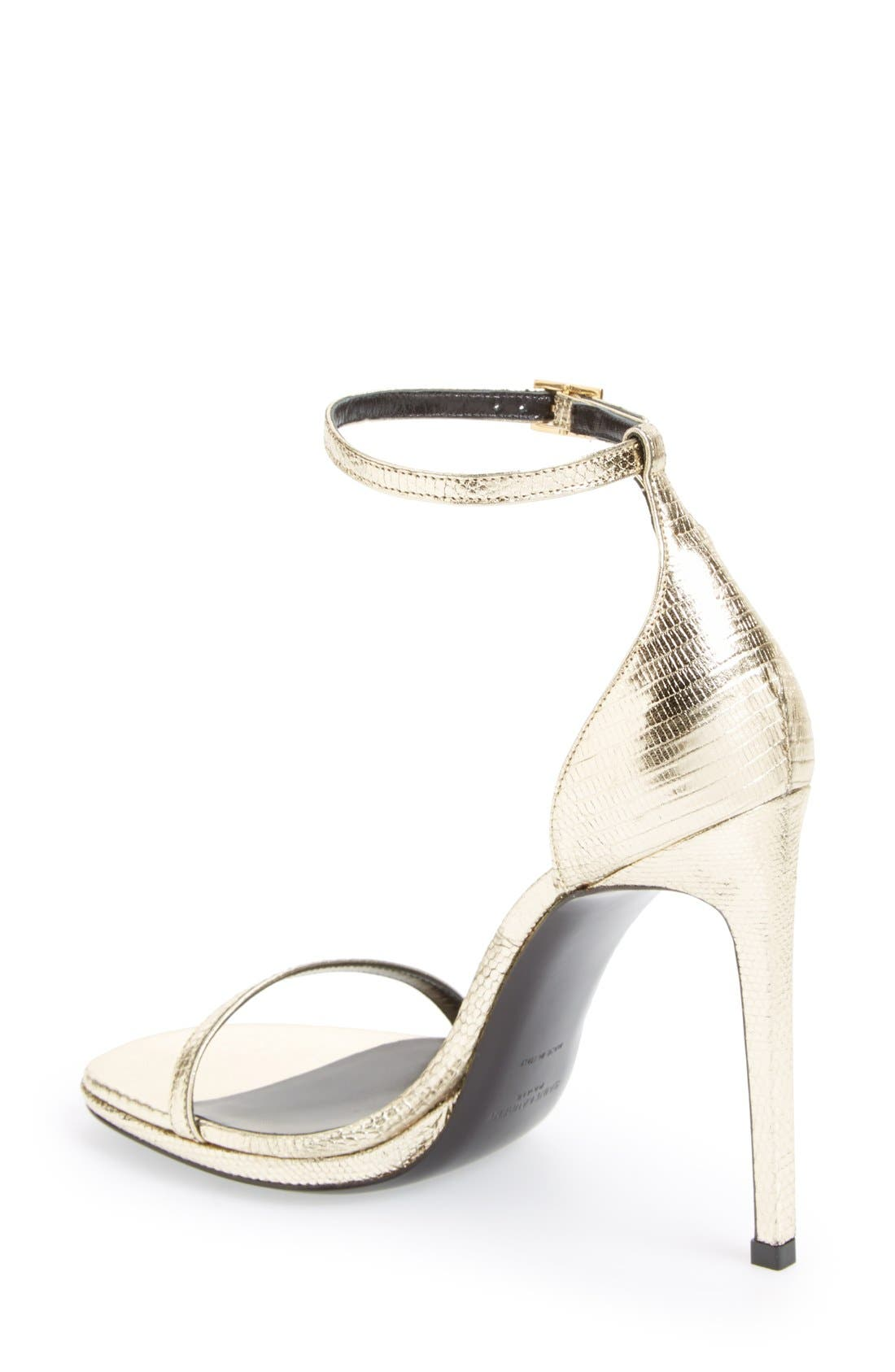 Alternate Image 2  - Saint Laurent 'Jane' Metallic Lizard Embossed Ankle Strap Sandal (Women)