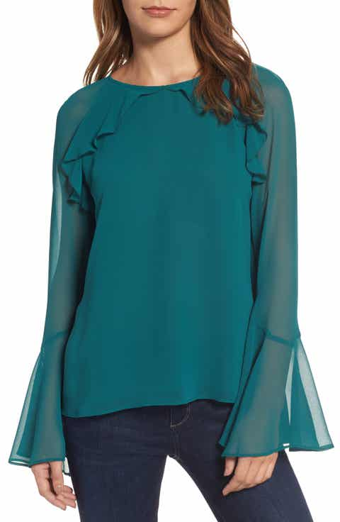 chelsea28 ruffle bell sleeve top