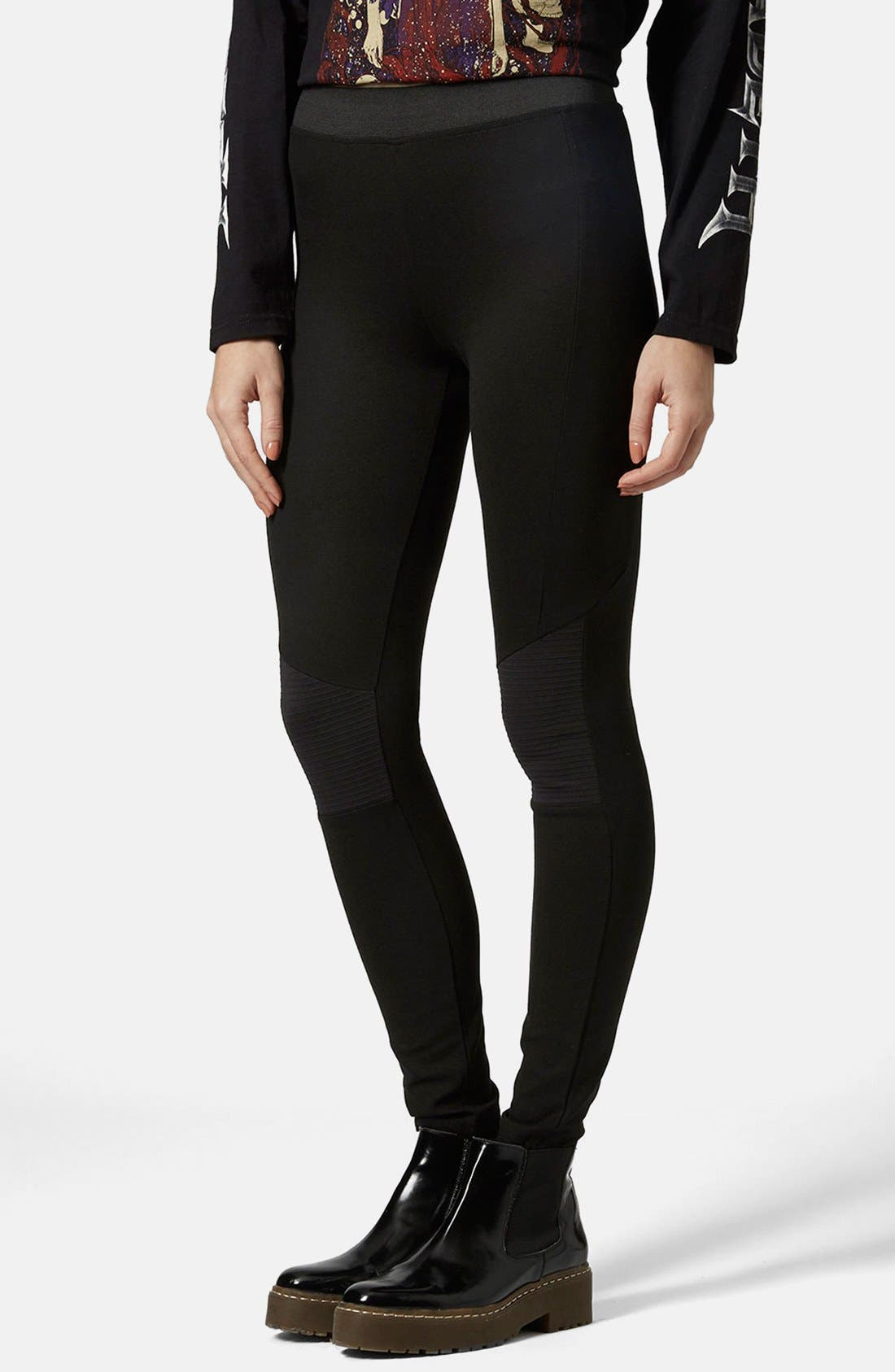 Alternate Image 1  - Topshop Biker Knee Ponte Leggings