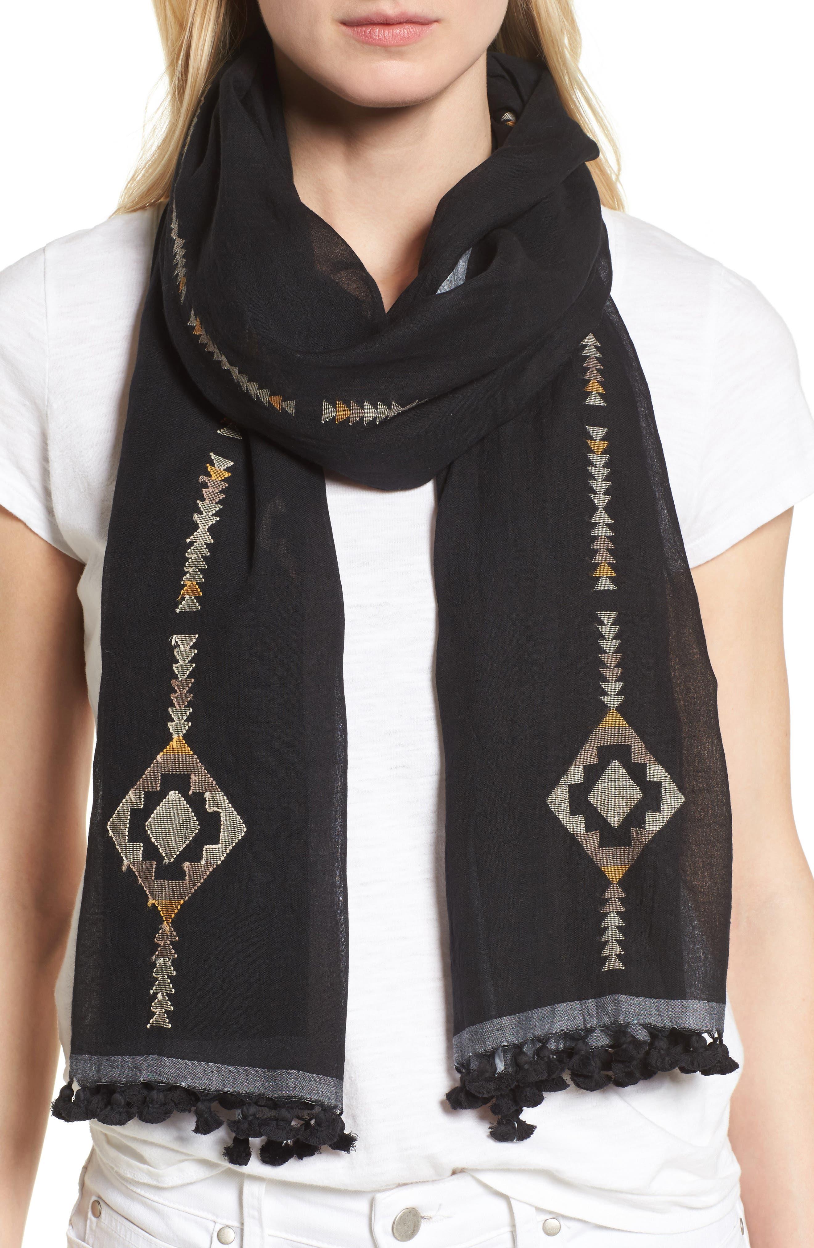 Eileen Fisher Embroidered Oraganic Cotton Scarf
