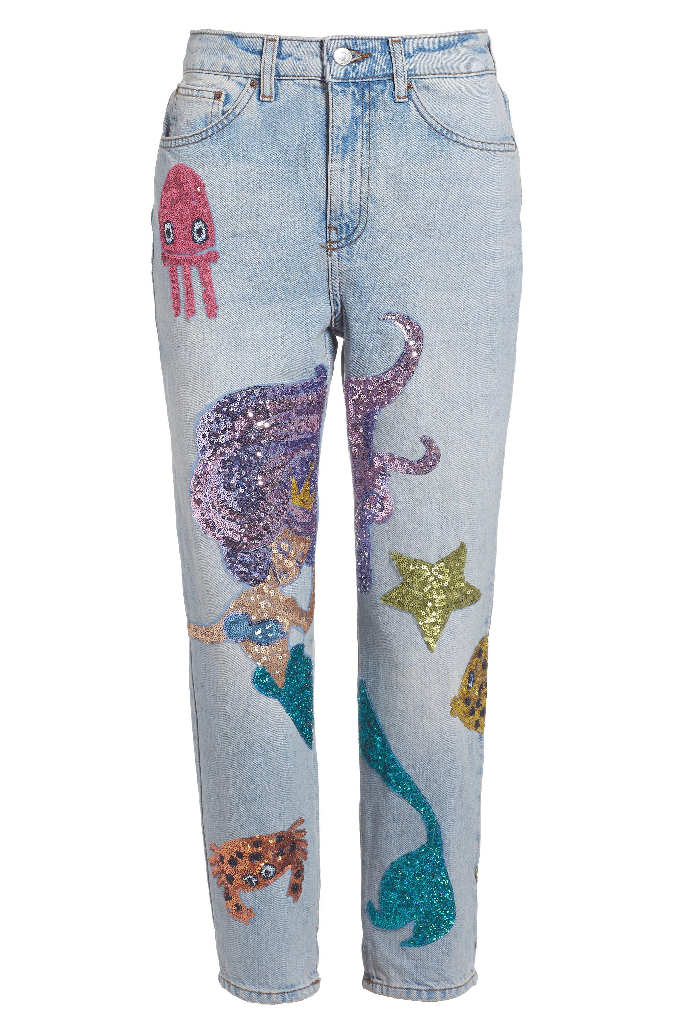 Topshop Mermaid Sequin Mom Jeans