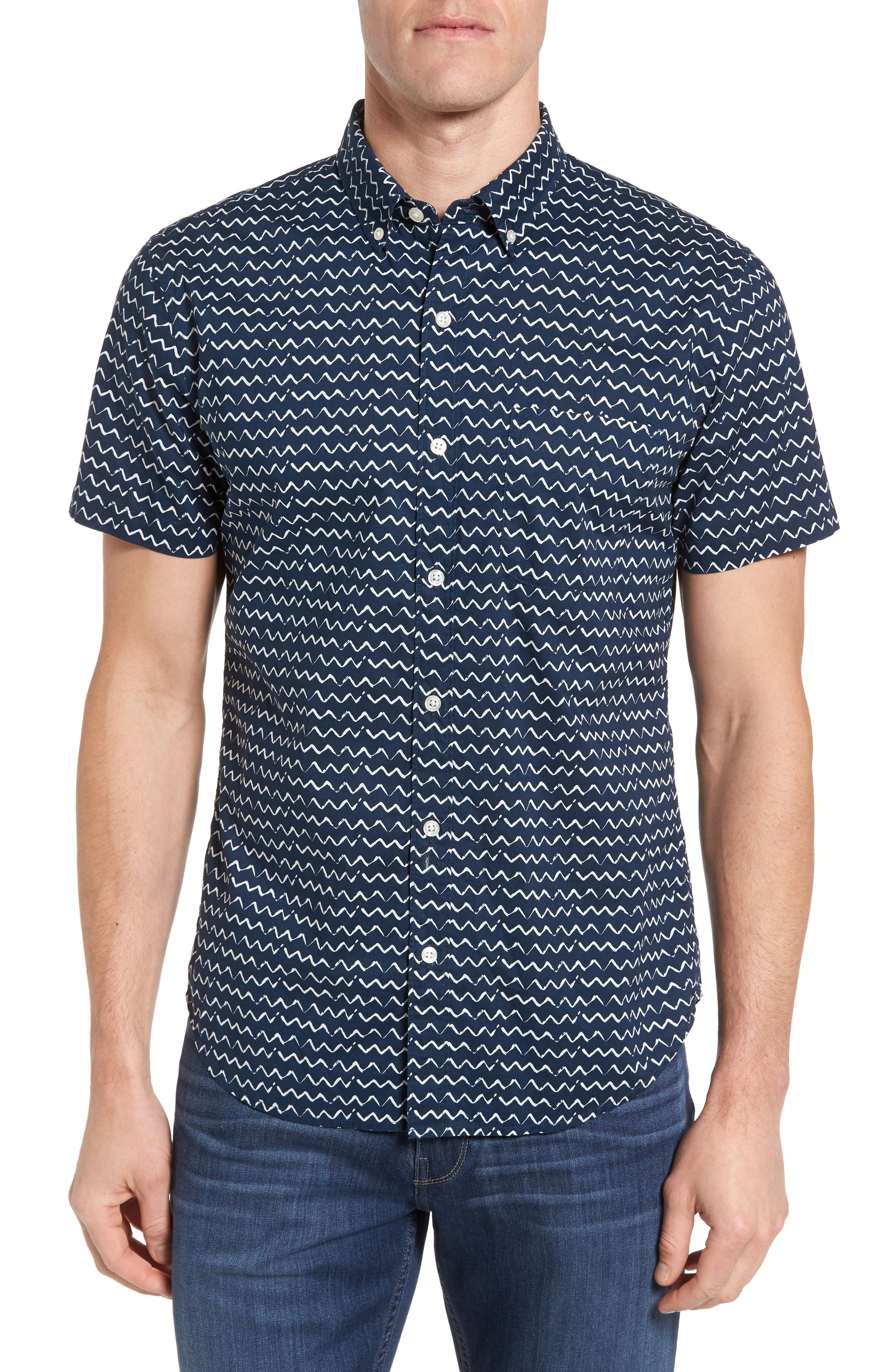 Bonobos Slim Fit Short Sleeve Print Sport Shirt