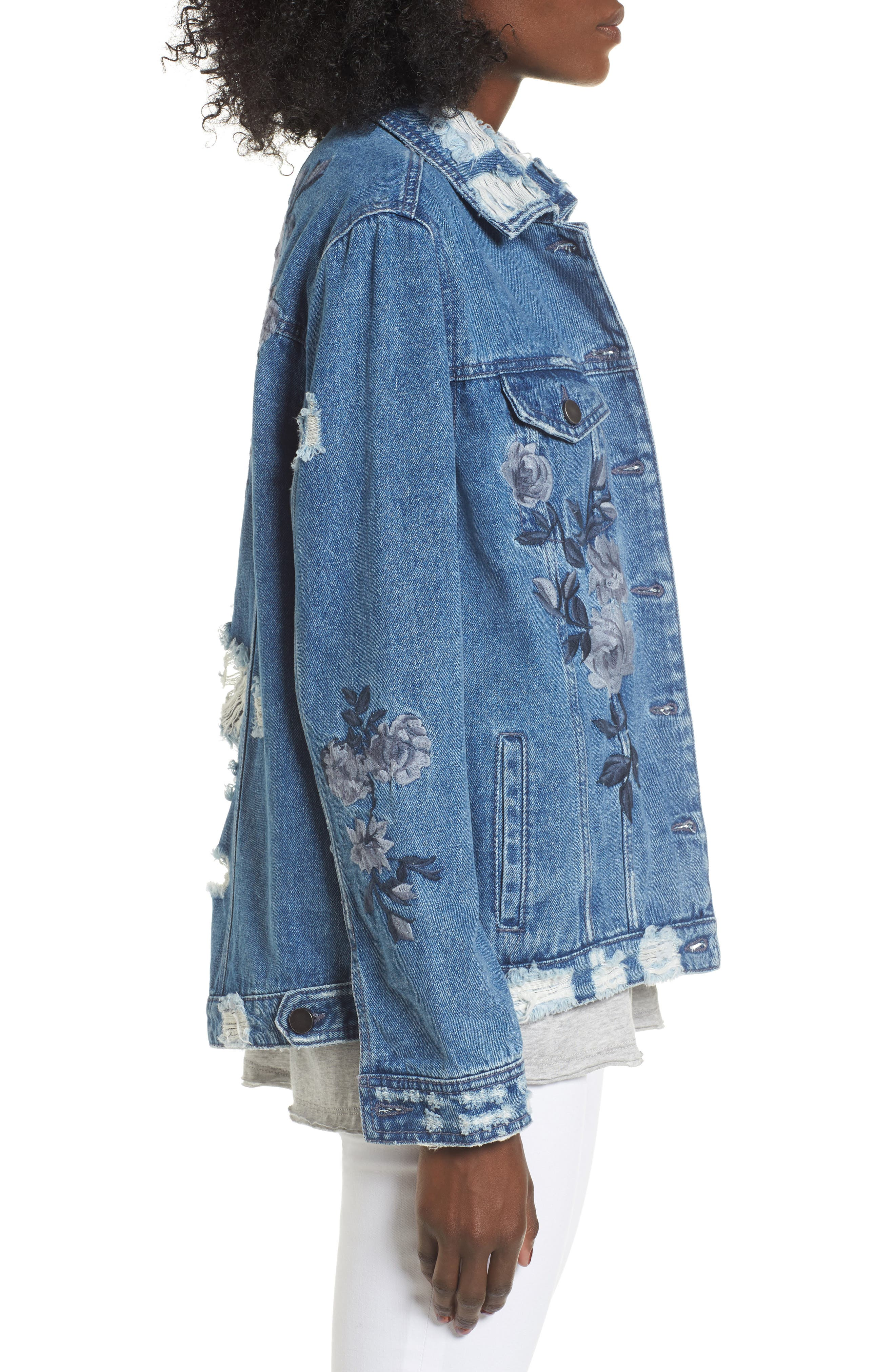 Alternate Image 3  - Love, Fire Floral Embroidered Ripped Denim Jacket
