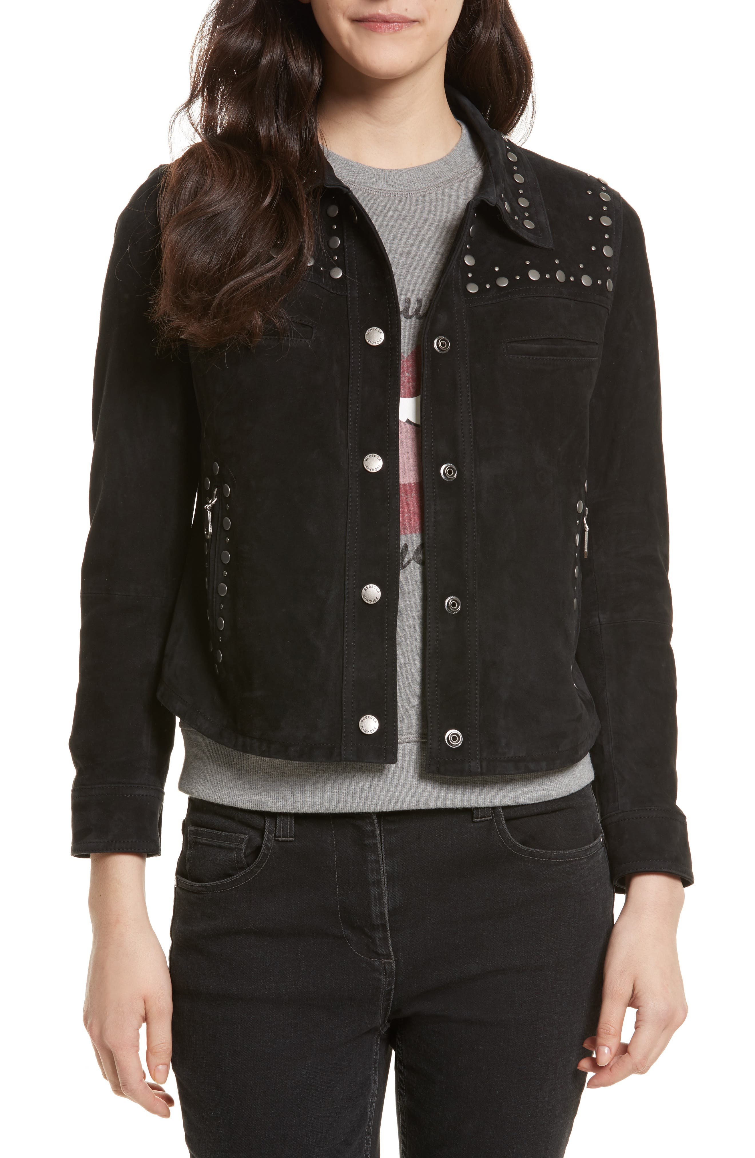 Rebecca Minkoff Herring Studded Suede Jacket