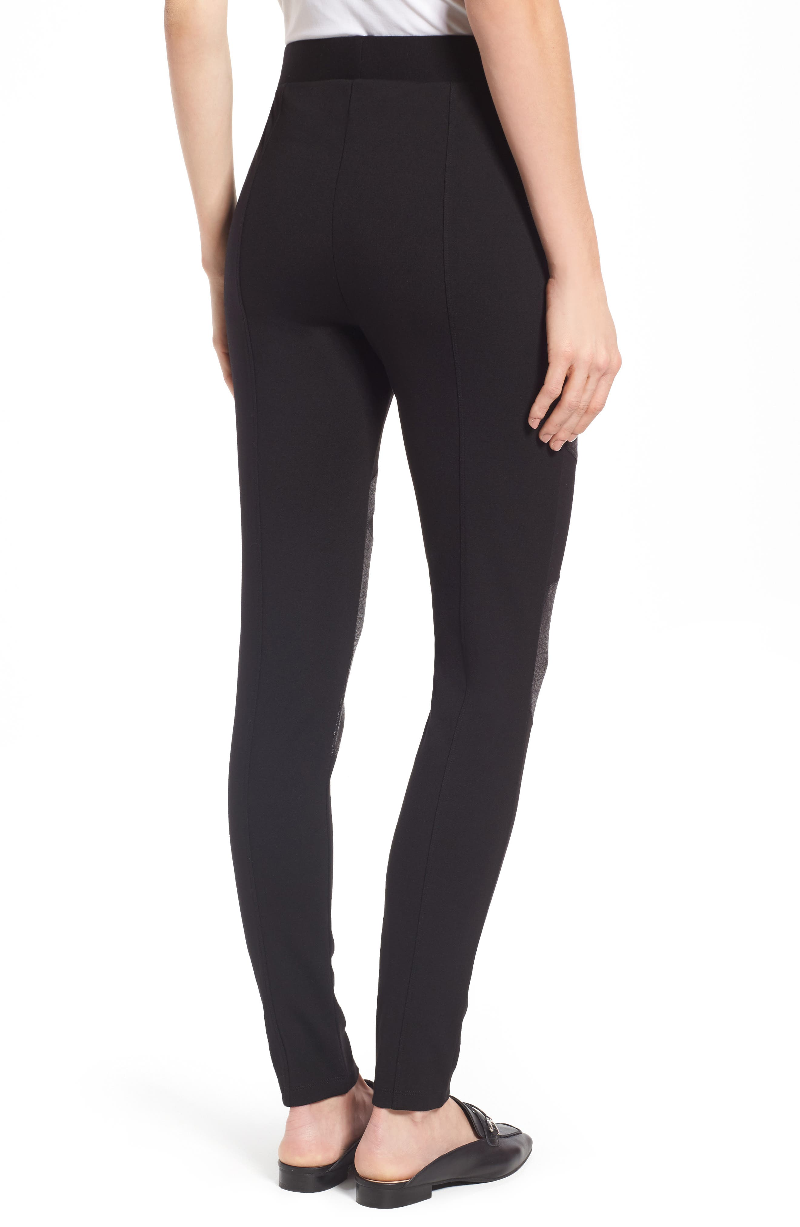 Alternate Image 2  - Two by Vince Camuto Lacquer Inset Moto Leggings (Regular & Petite)