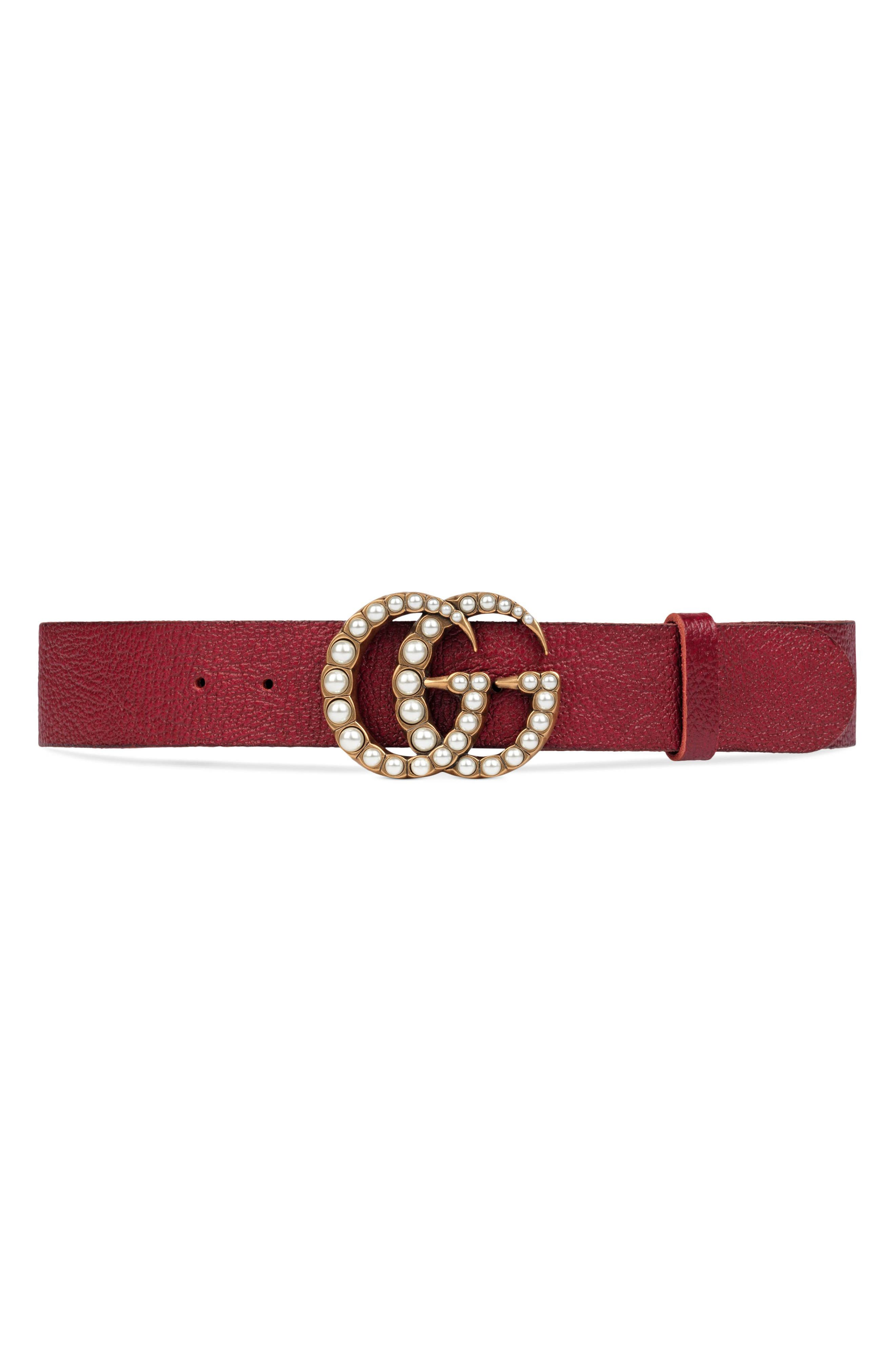 Alternate Image 1 Selected - Gucci Imitation Pearl Double-G Leather Belt