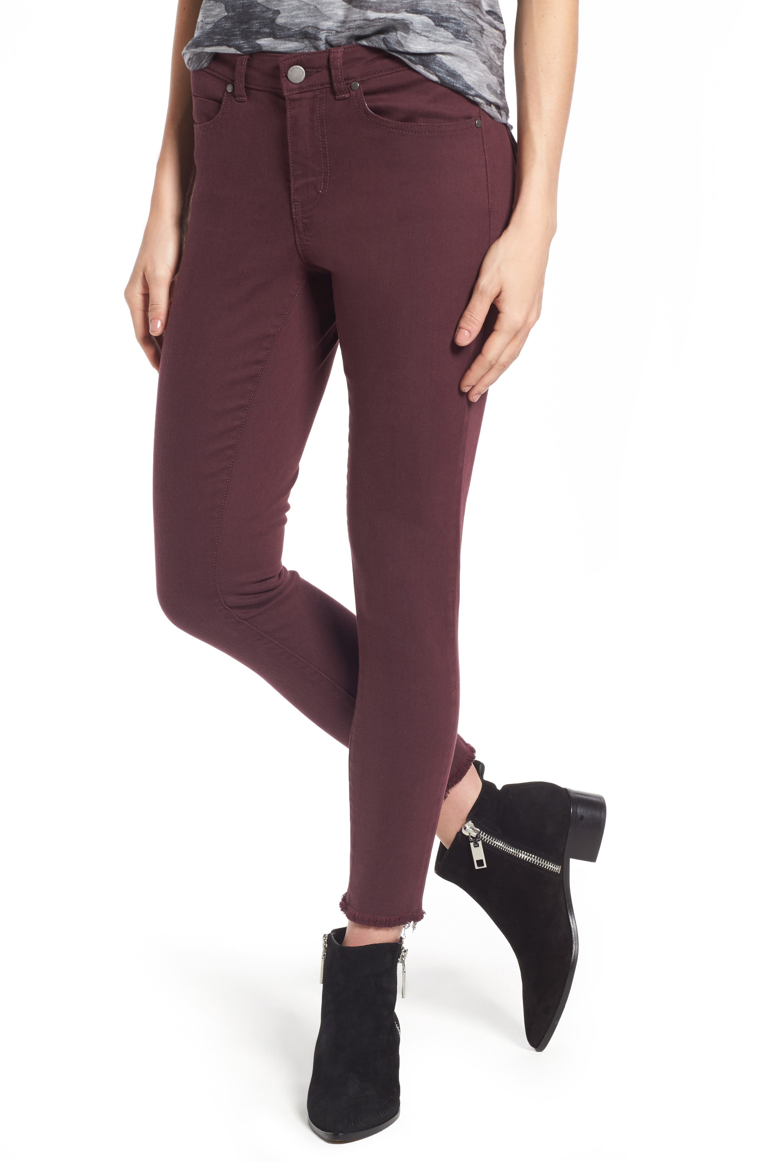 Caslon® Frayed Hem Skinny Ankle Jeans (Regular & Petite)