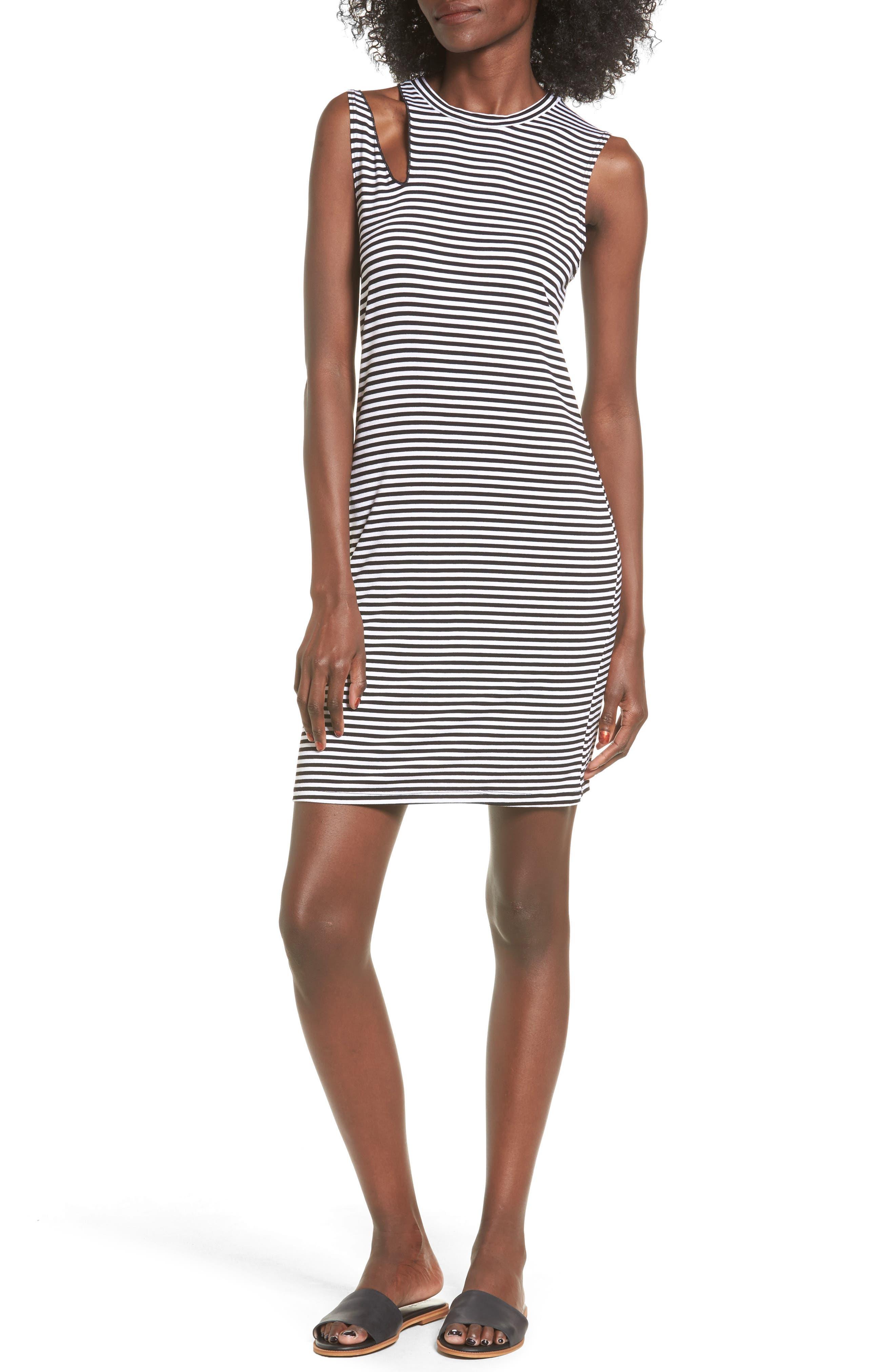LNA Stripe Cutout Dress
