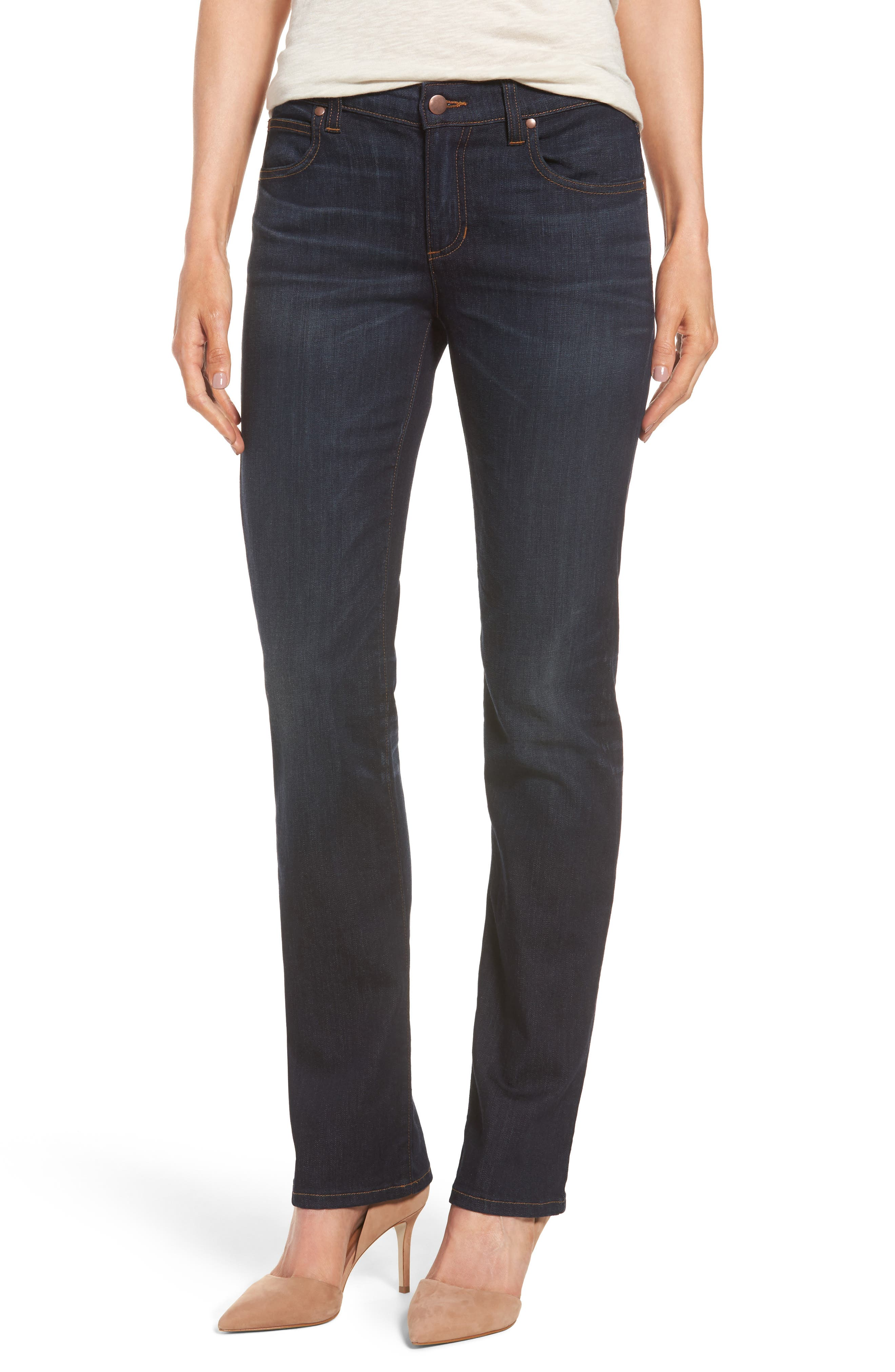 Alternate Image 1 Selected - Eileen Fisher Straight Leg Stretch Jeans (Regular & Petite)