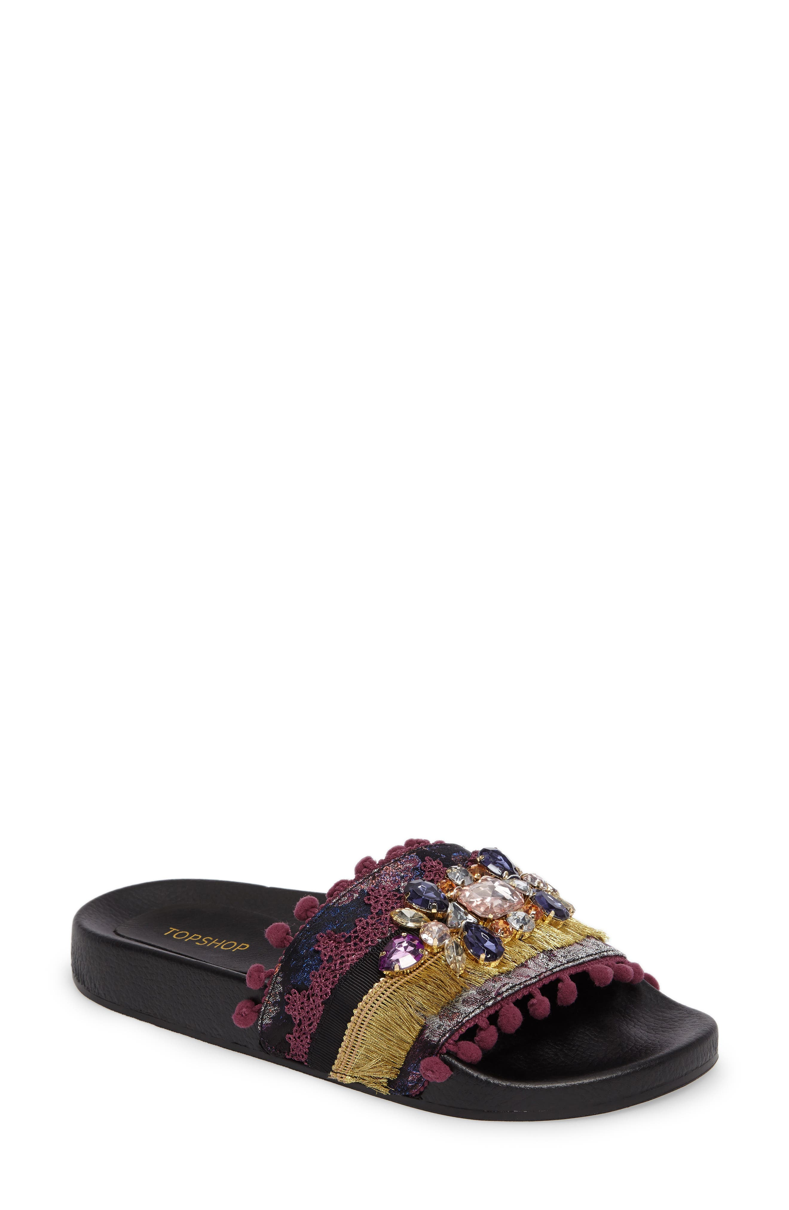 Topshop Hero Embellished Slide Sandal (Women)
