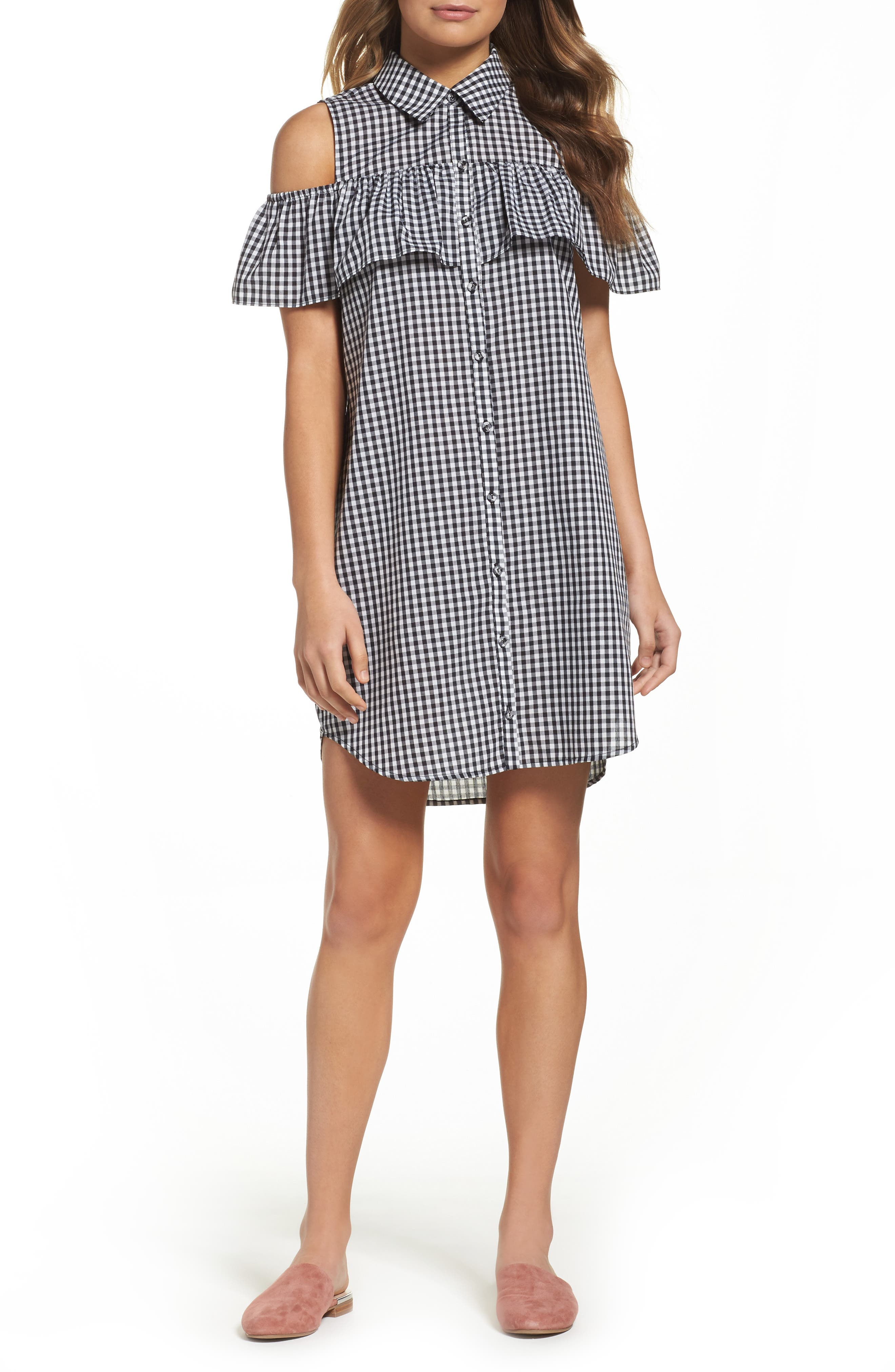 Charles Henry Woven Gingham Shirtdress