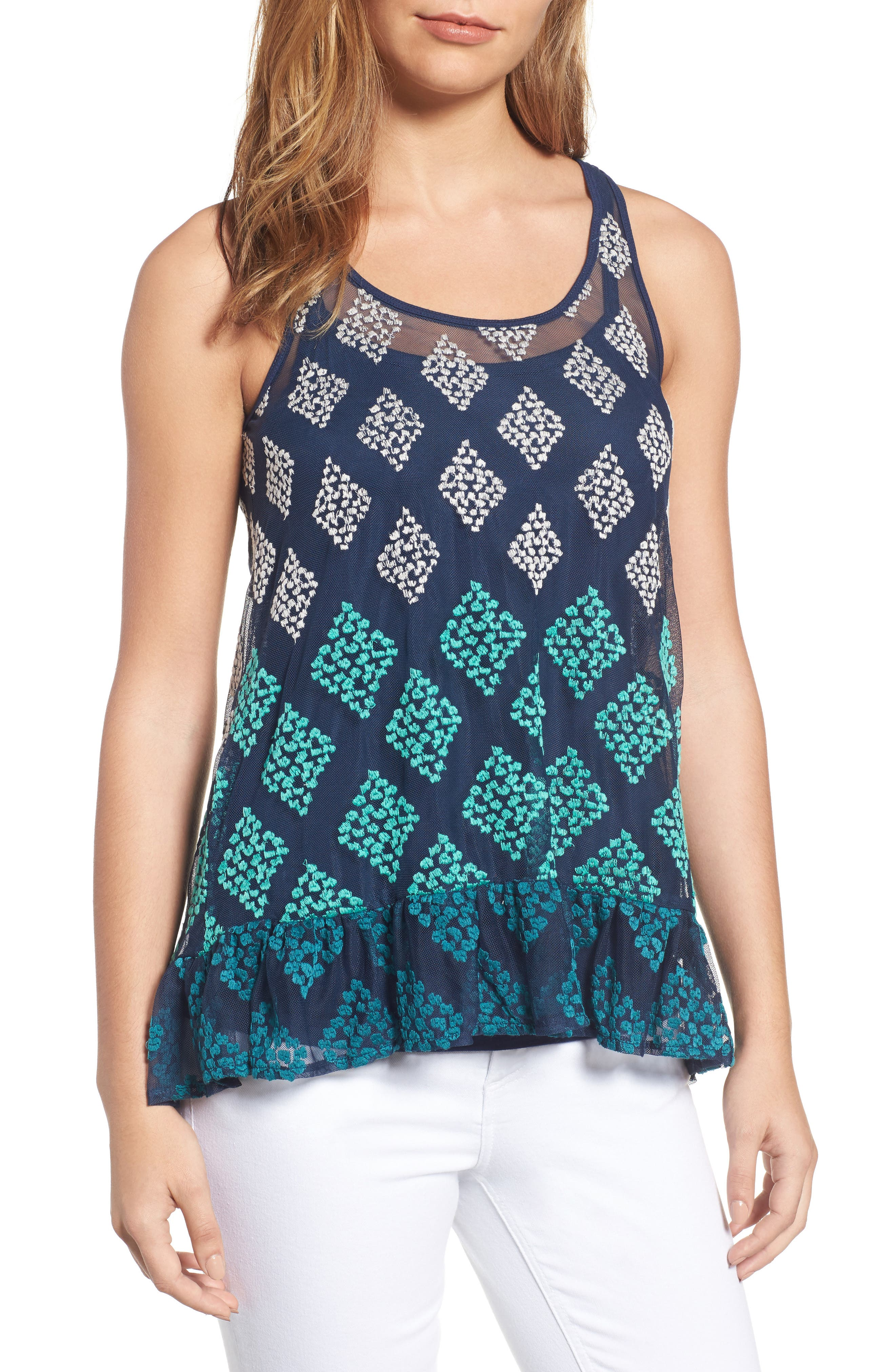 Wit & Wisdom Embroidered Mesh Peplum Tank (Nordstrom Exclusive)