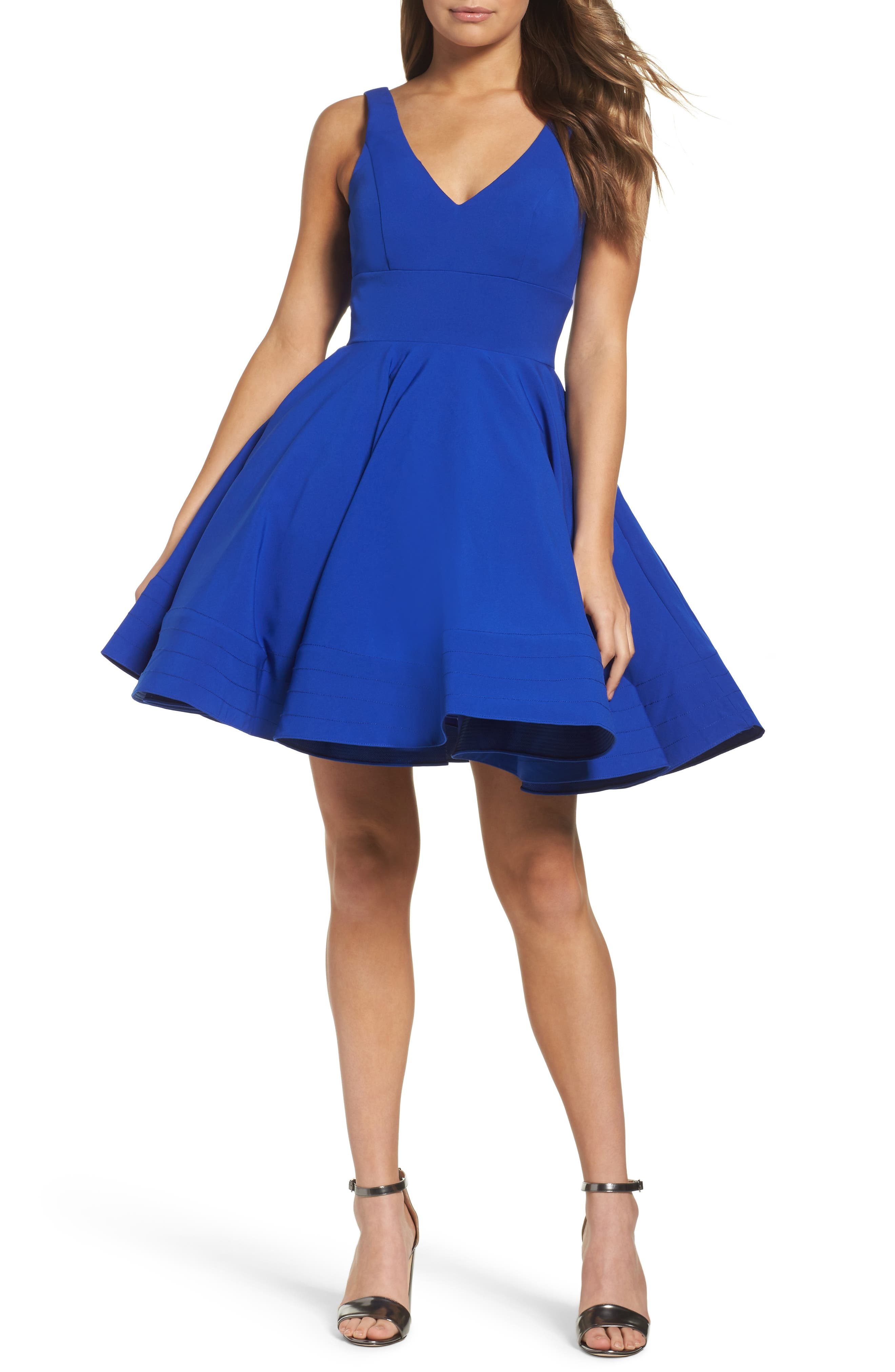 Ieena for Mac Duggal Double V-Neck Fit & Flare Party Dress