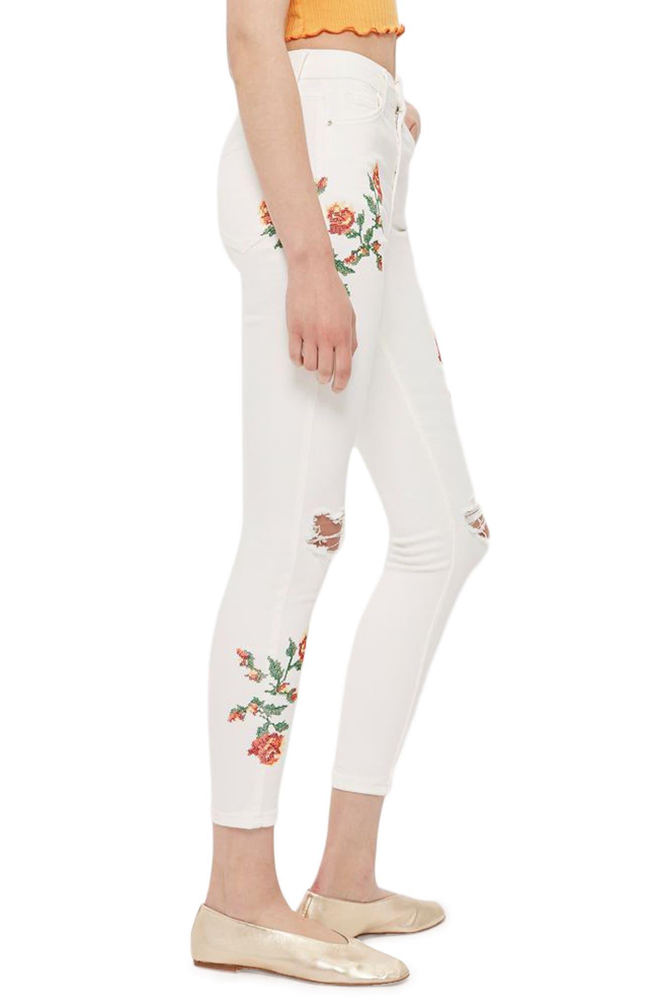Alternate Image 4  - Topshop Jamie Embroidered Skinny Jeans (Regular & Petite)