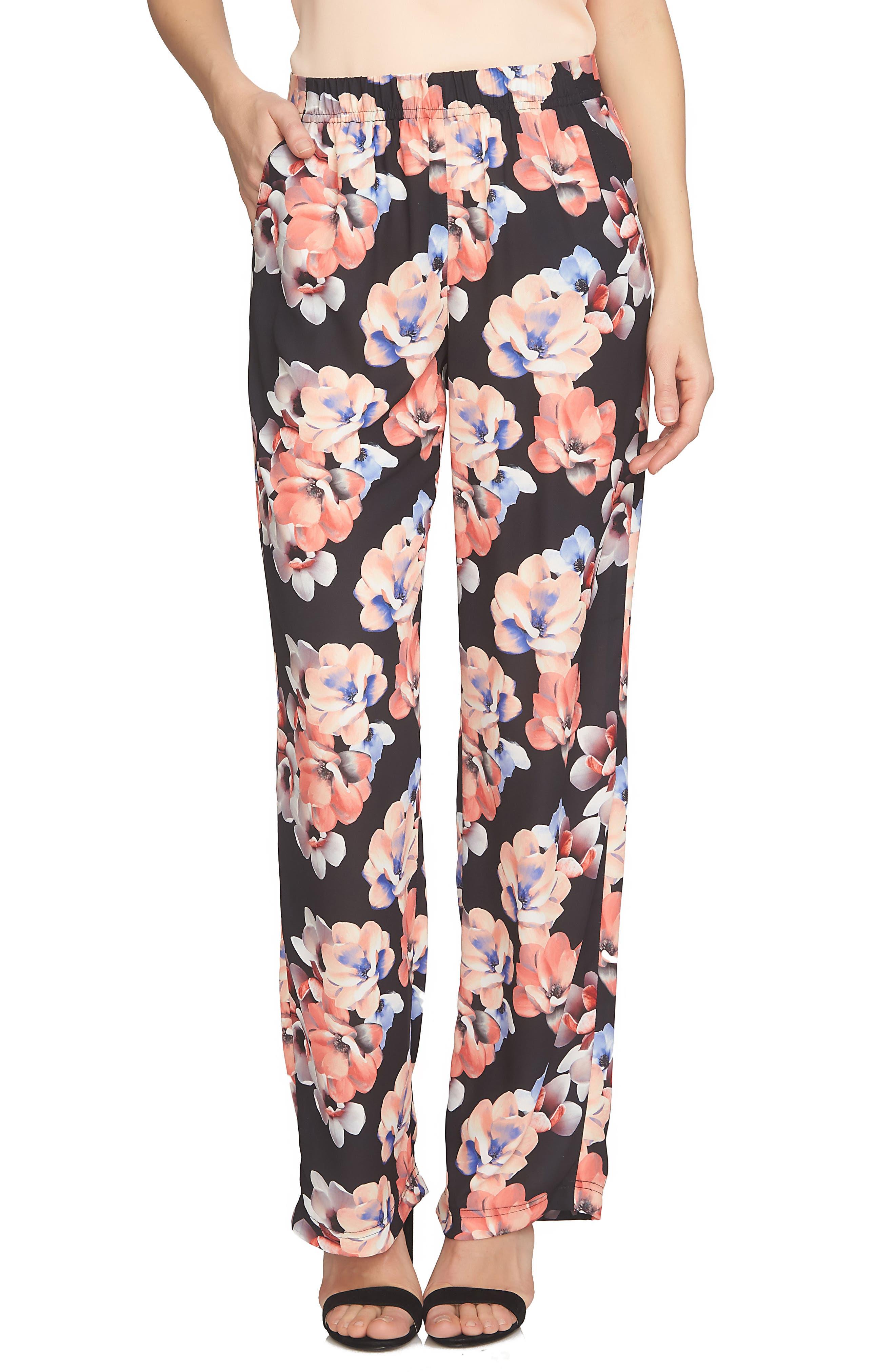 CeCe Floral Print Wide Leg Pants