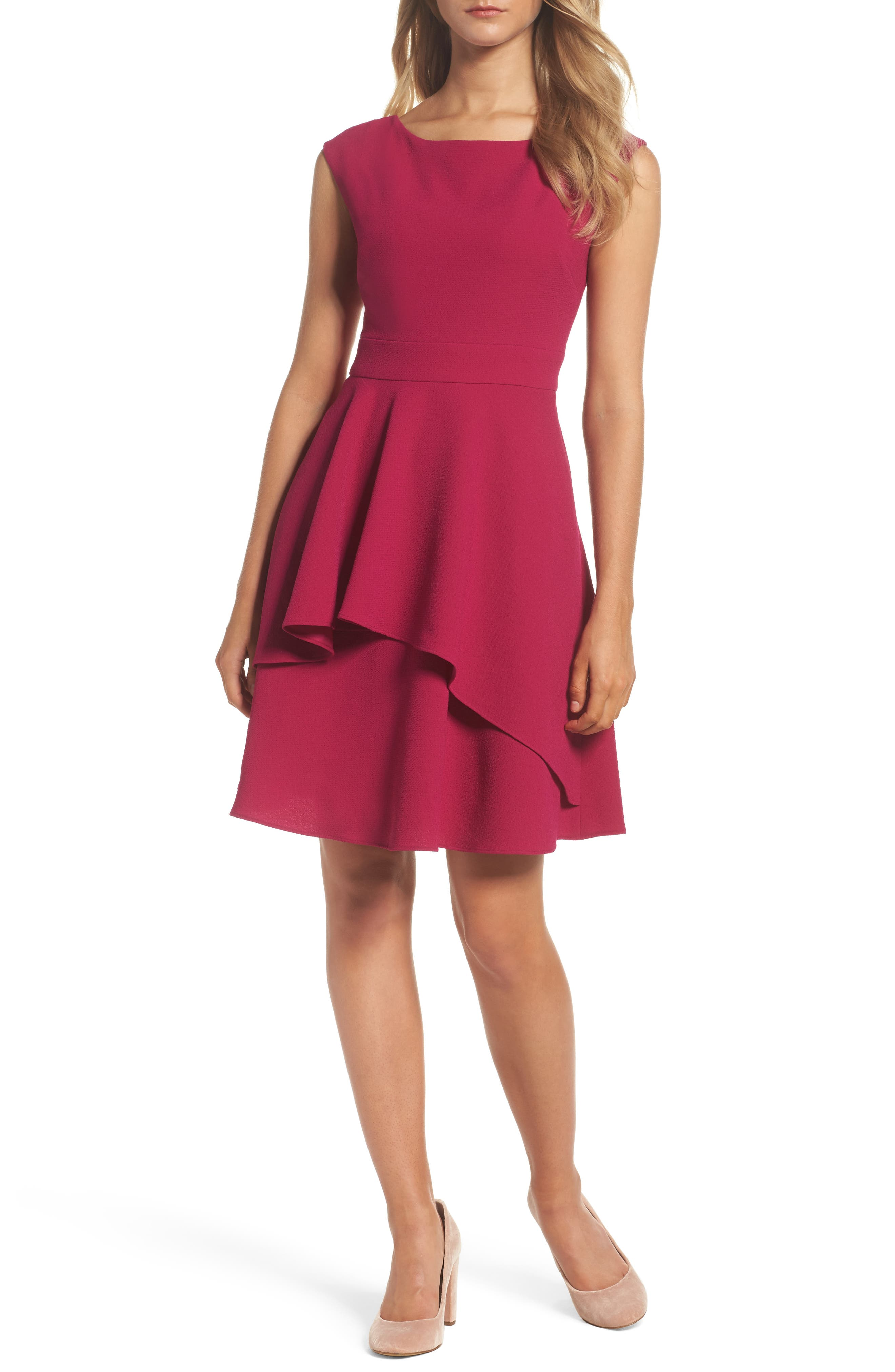 Eliza J Ruffle Fit & Flare Dress (Regular & Petite)