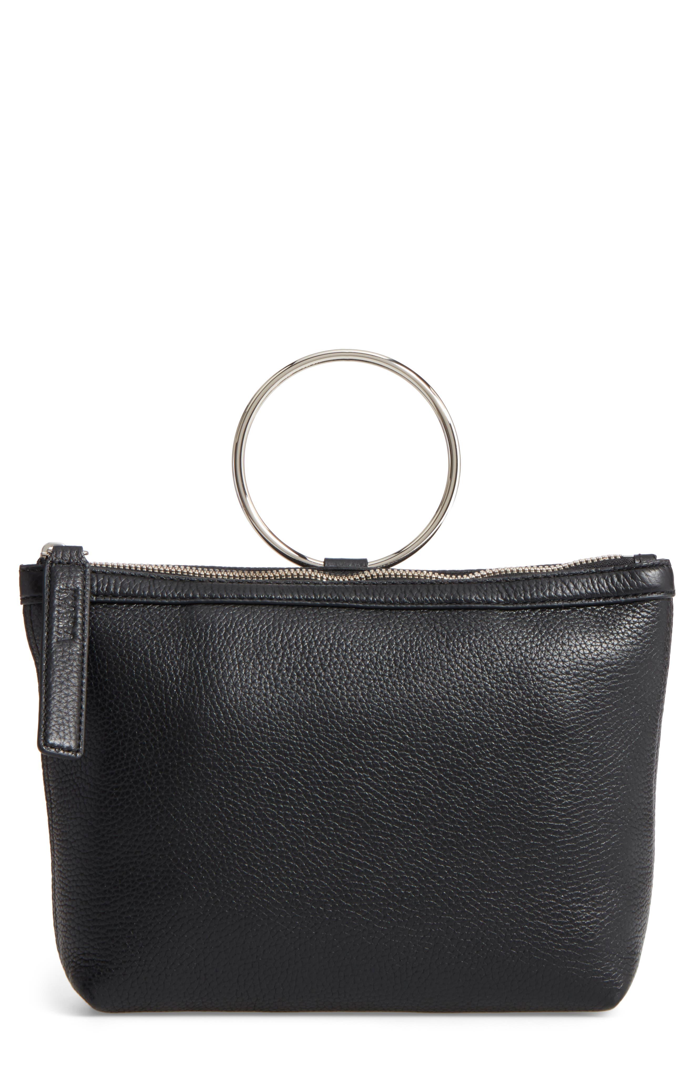 KARA Pebbled Leather Ring Clutch