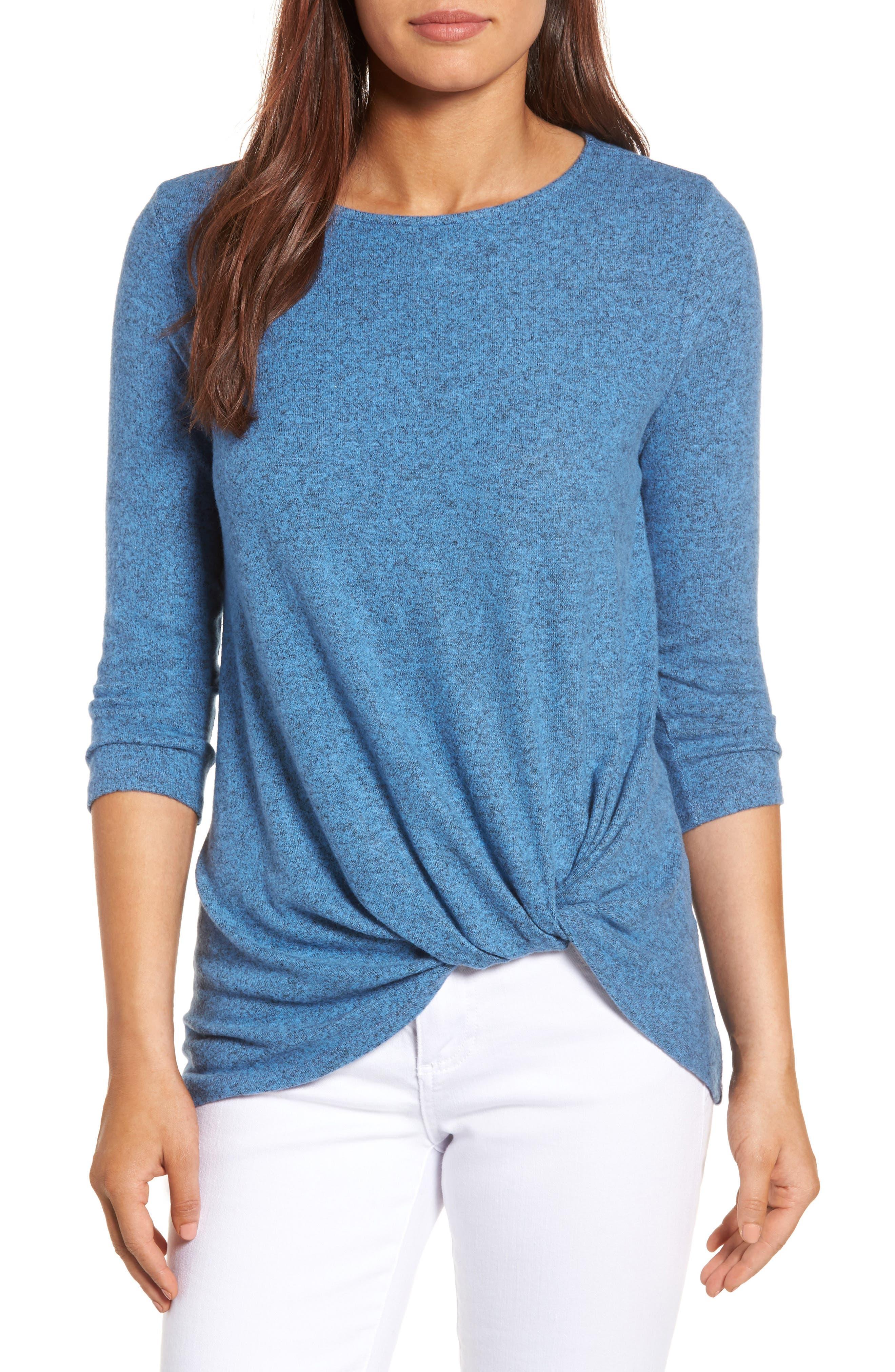 GIBSON Twist Front Cozy Fleece Pullover