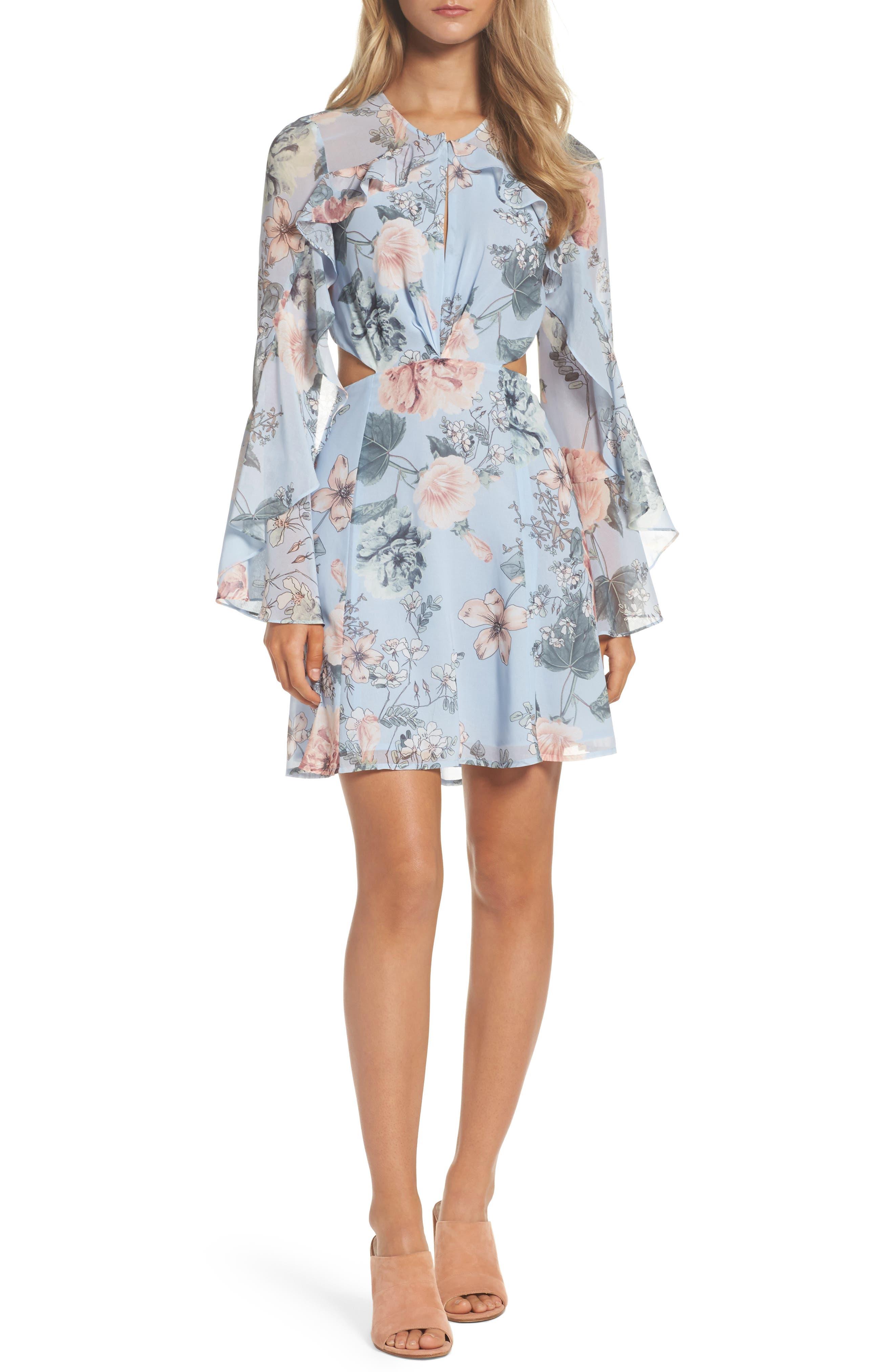 Bardot Floral Print Chiffon Dress
