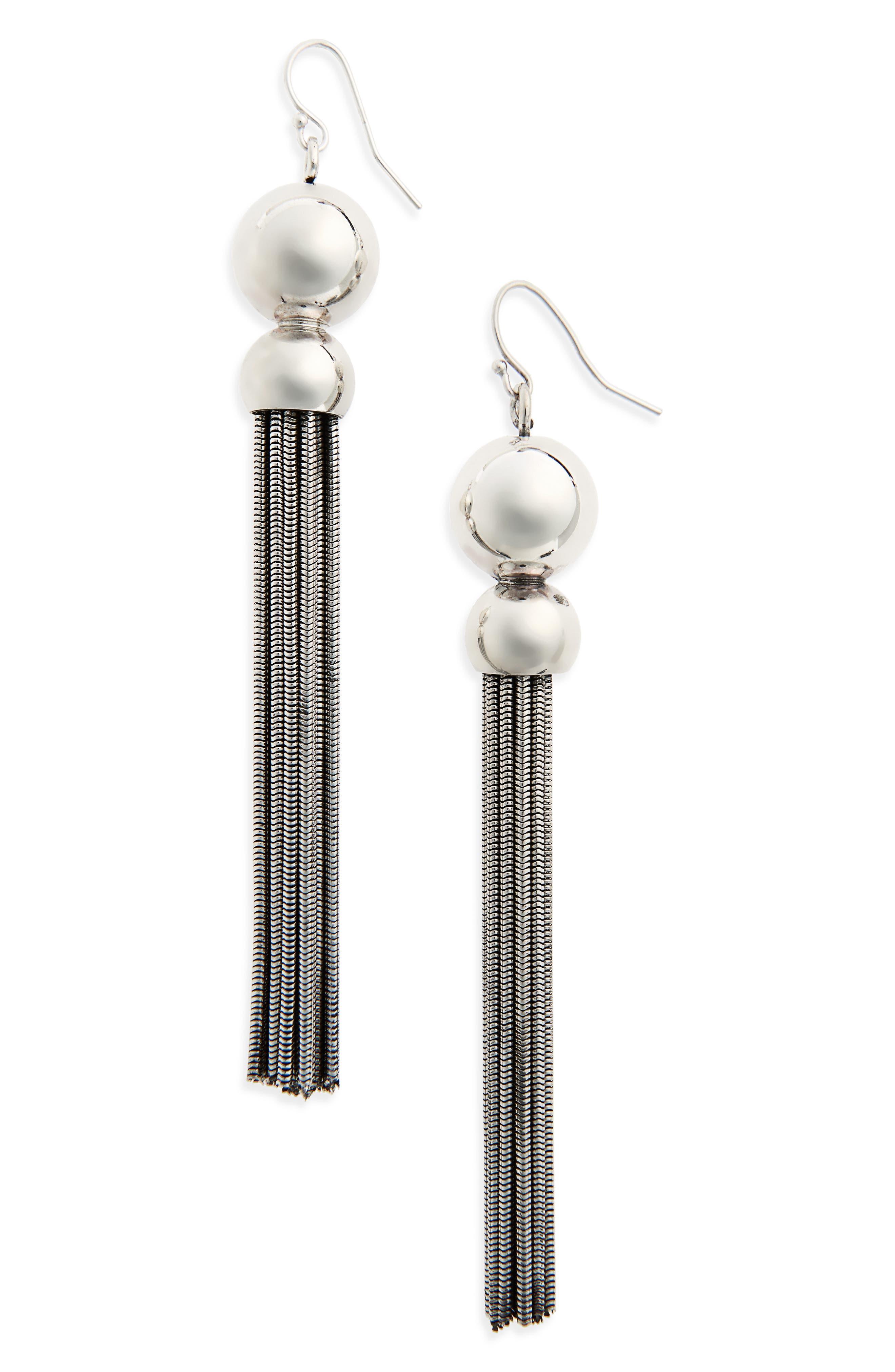buhai benton gates silver tassel statement earrings