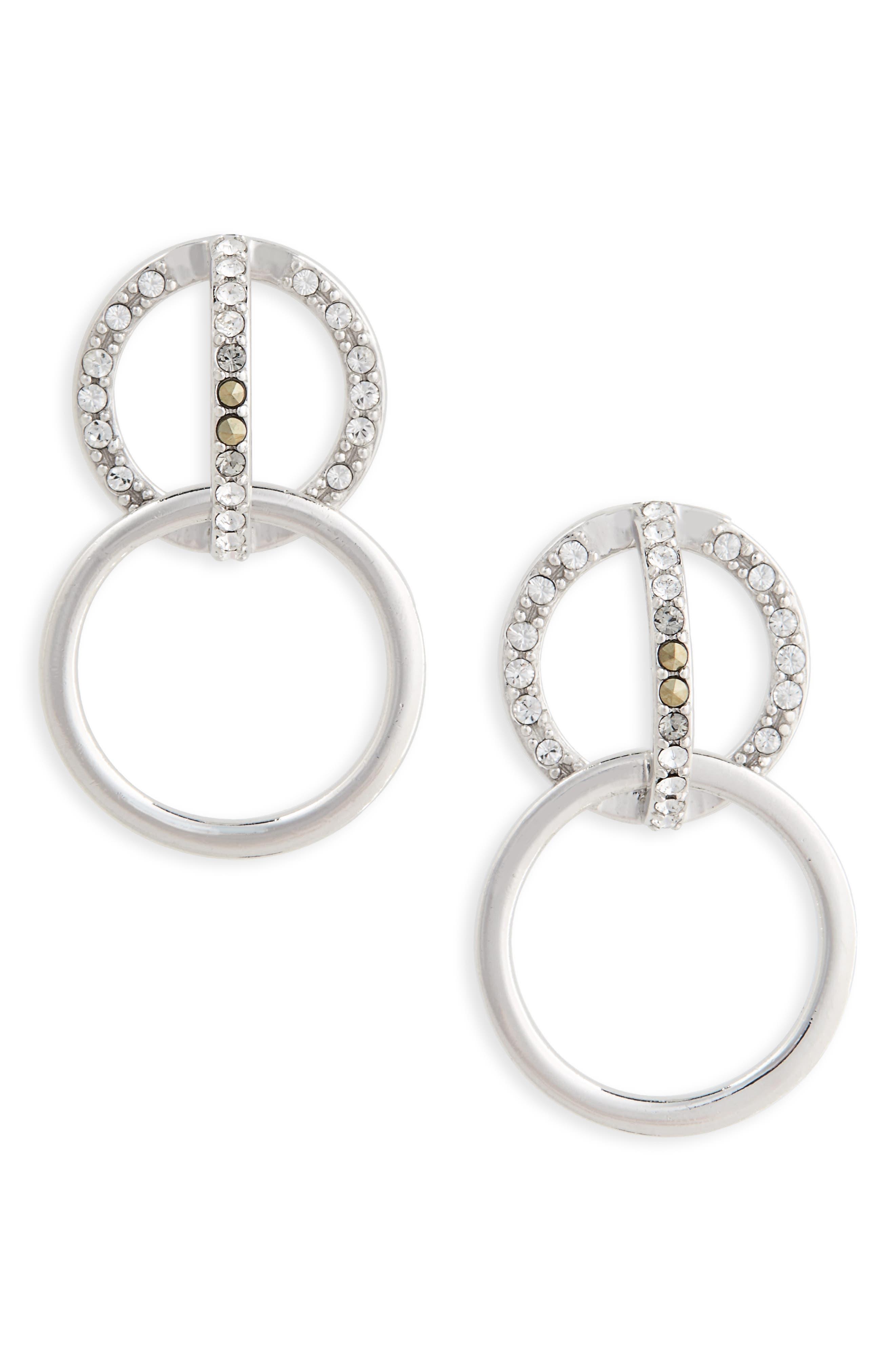 Judith Jack Silver Sparkle Double Drop Earrings