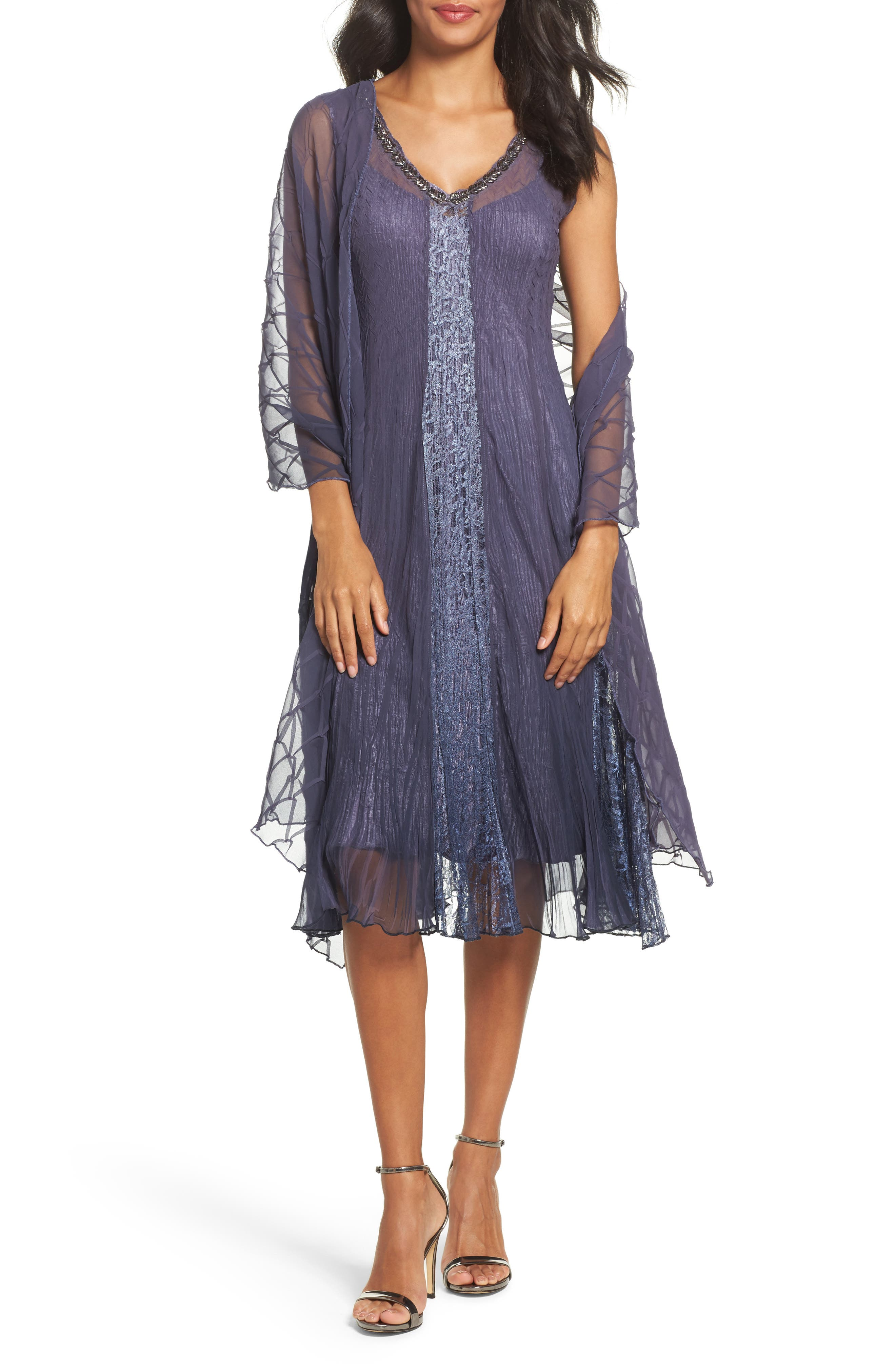 Komarov Embellished Dress & Shawl