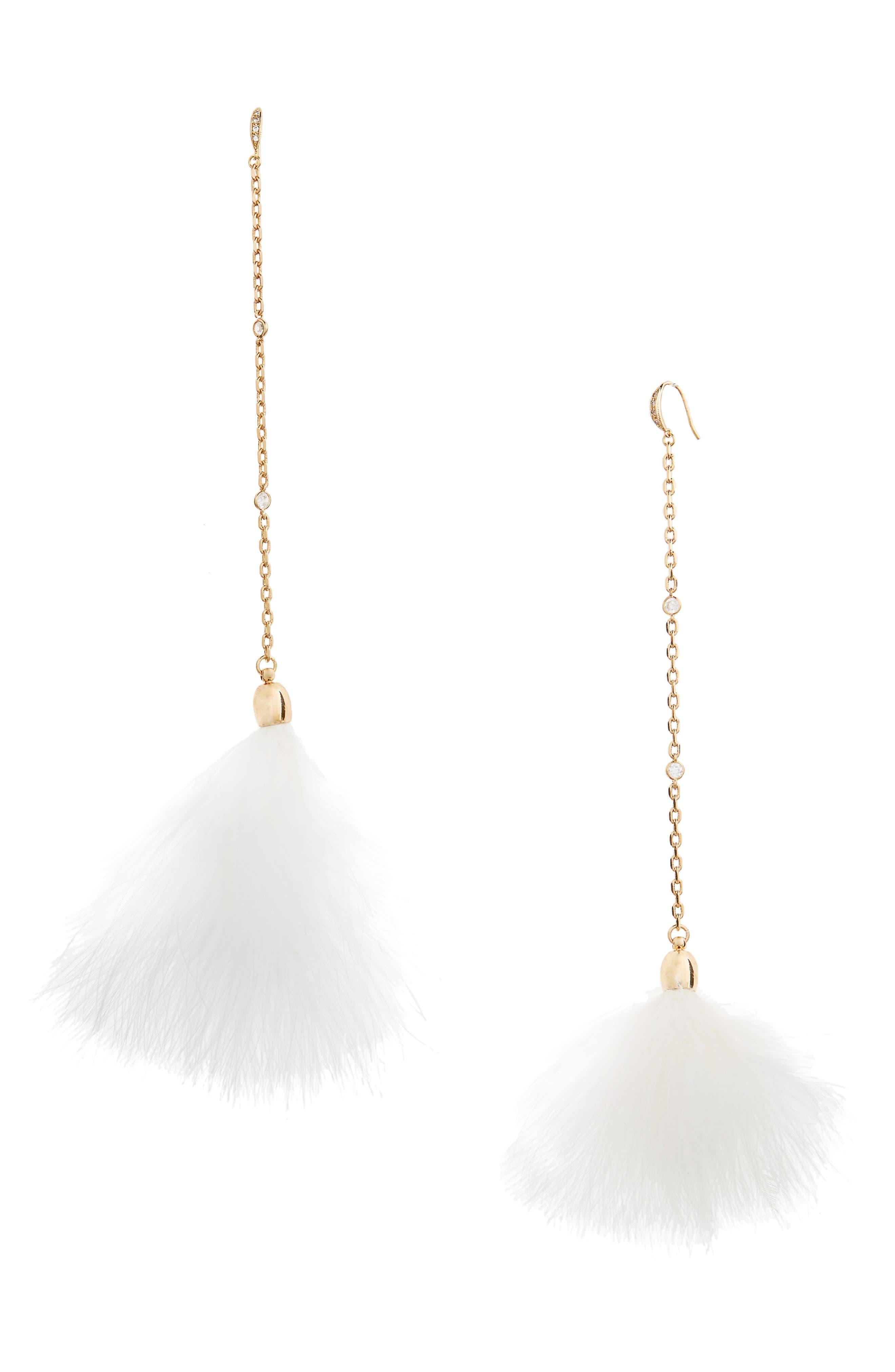 Ettika 18k Gold Plated Chain Pom Shoulder Duster Earrings