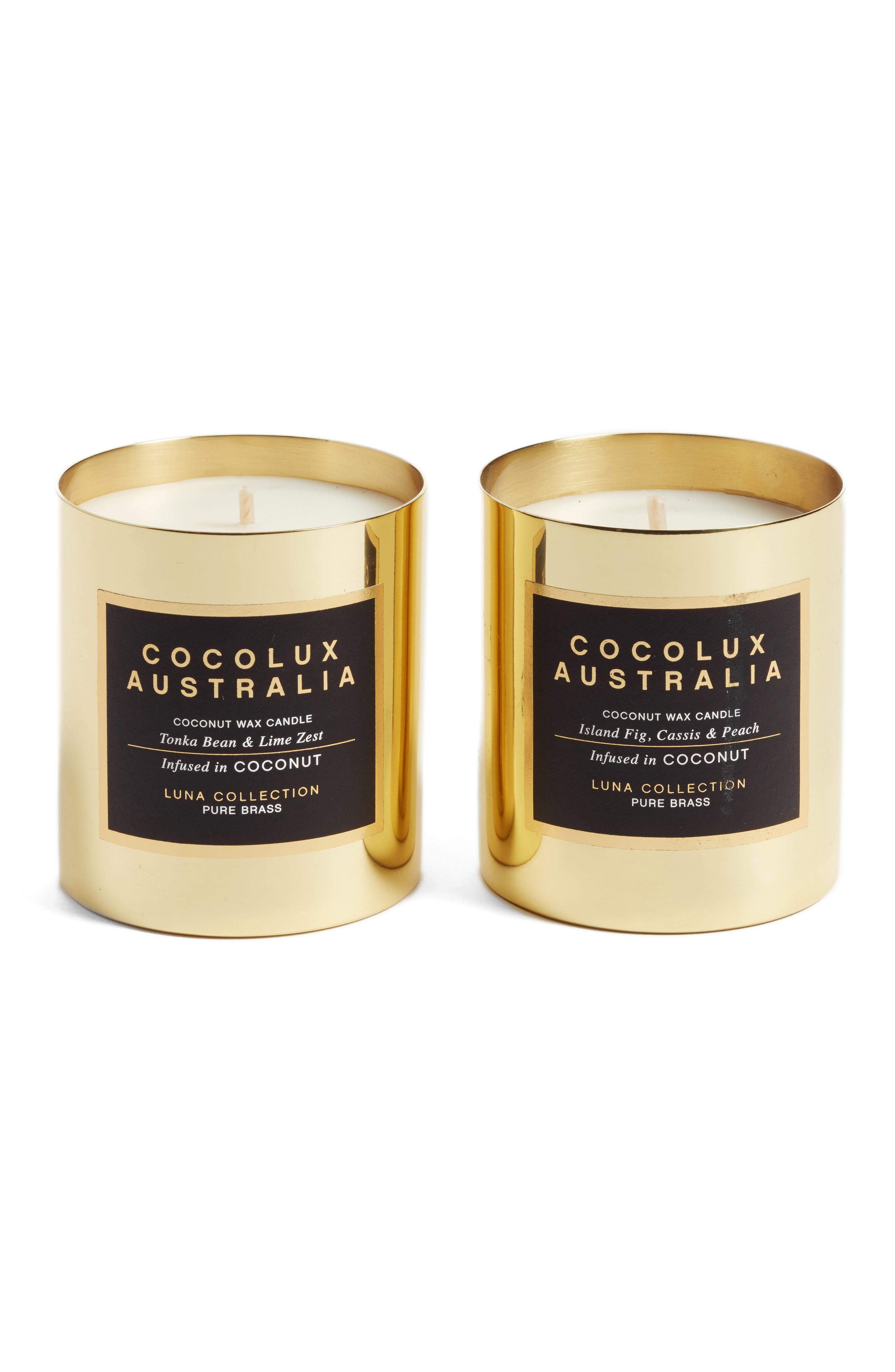 Alternate Image 1 Selected - Cocolux Australia Island Fig, Cassis & Peach & Tonka Bean & Lime Zest Candle Duo ($90 Value)