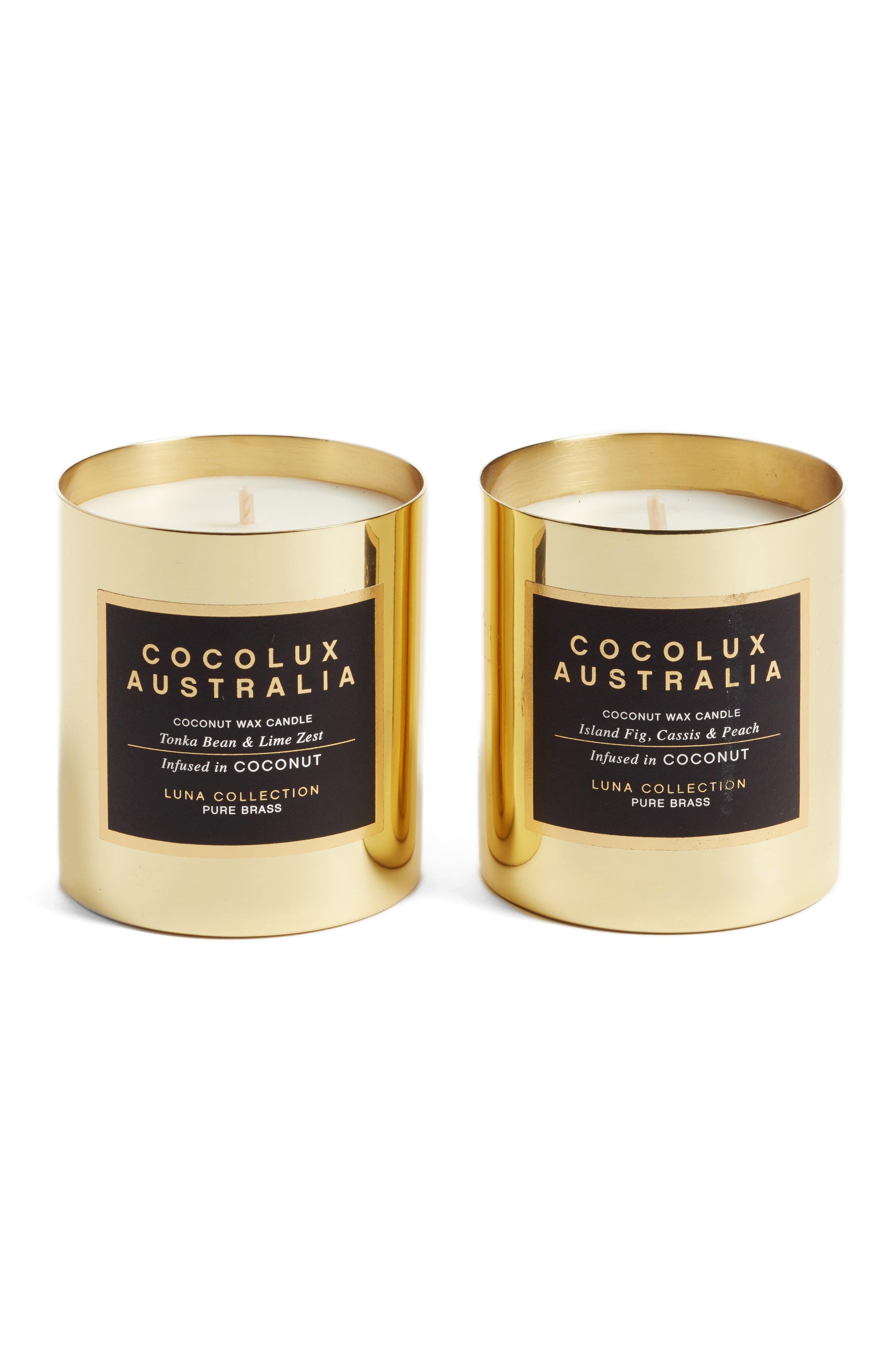 Main Image - Cocolux Australia Island Fig, Cassis & Peach & Tonka Bean & Lime Zest Candle Duo ($90 Value)