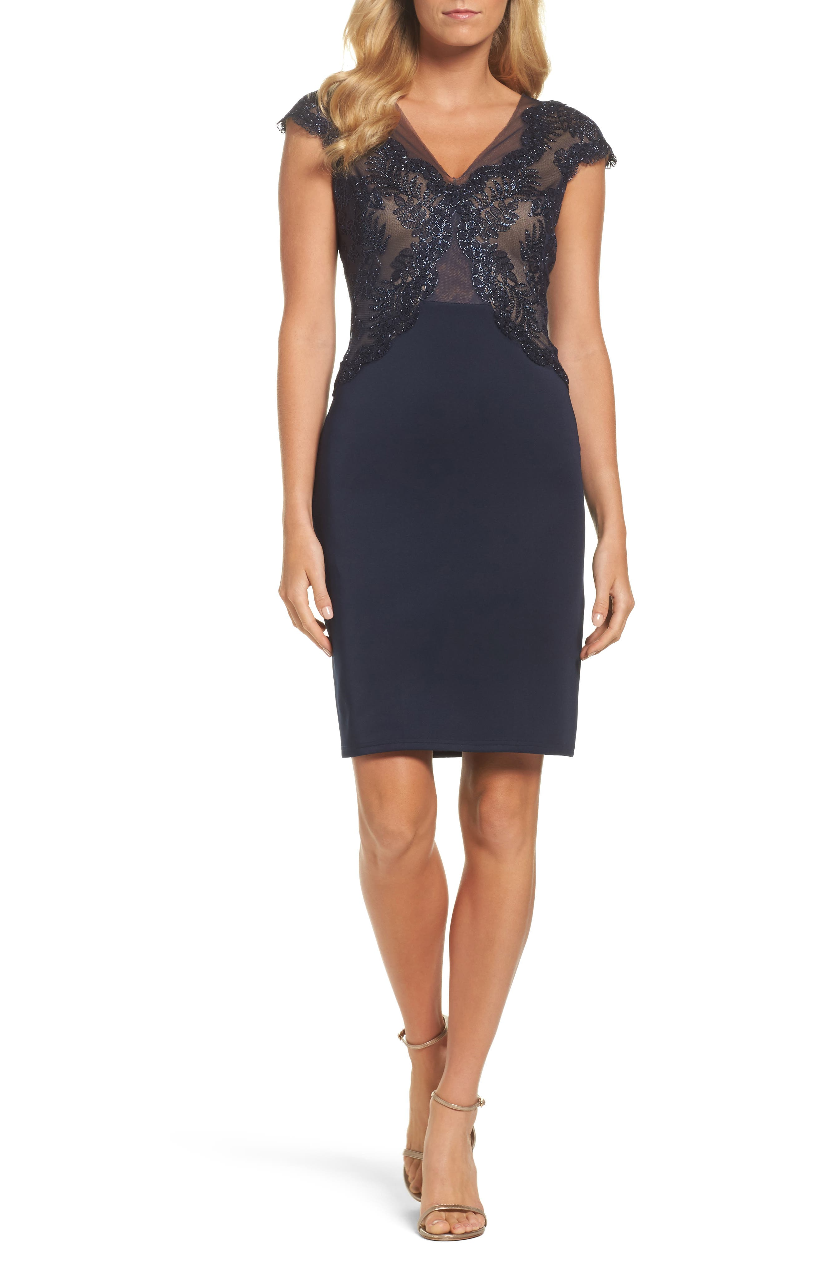 Tadashi Shoji Lace & Neoprene Sheath Dress (Regular & Petite)