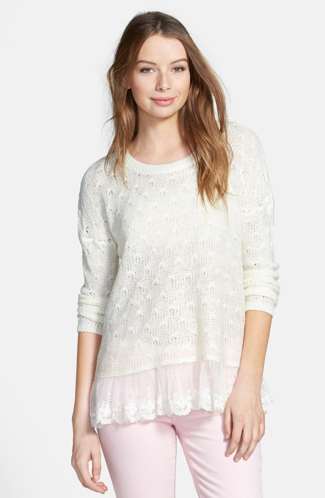 Alternate Image 1 Selected - Cotton Emporium Lace Hem Pullover (Juniors)