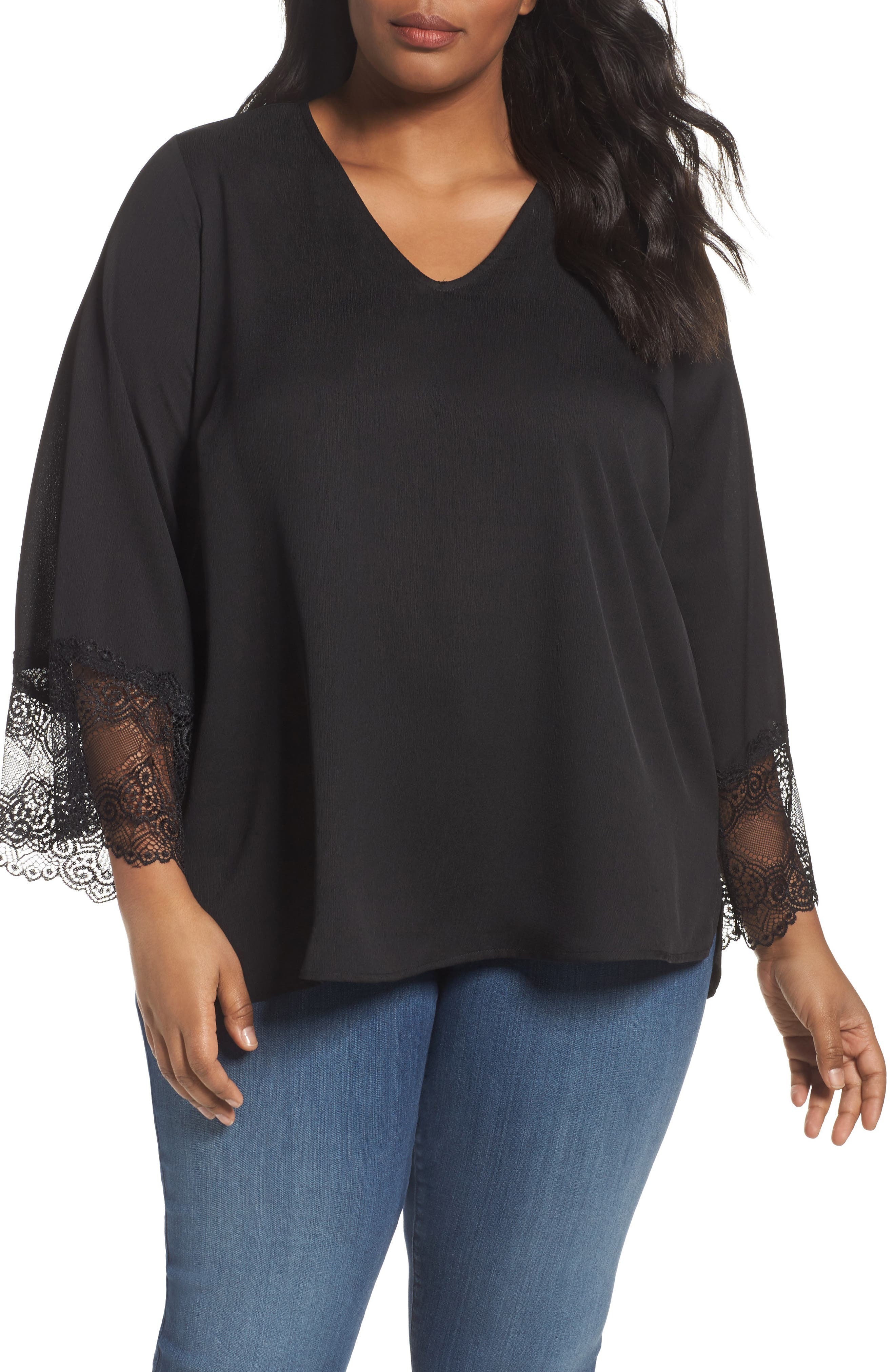 Sejour Lace Detail V-Neck Blouse (Plus Size)