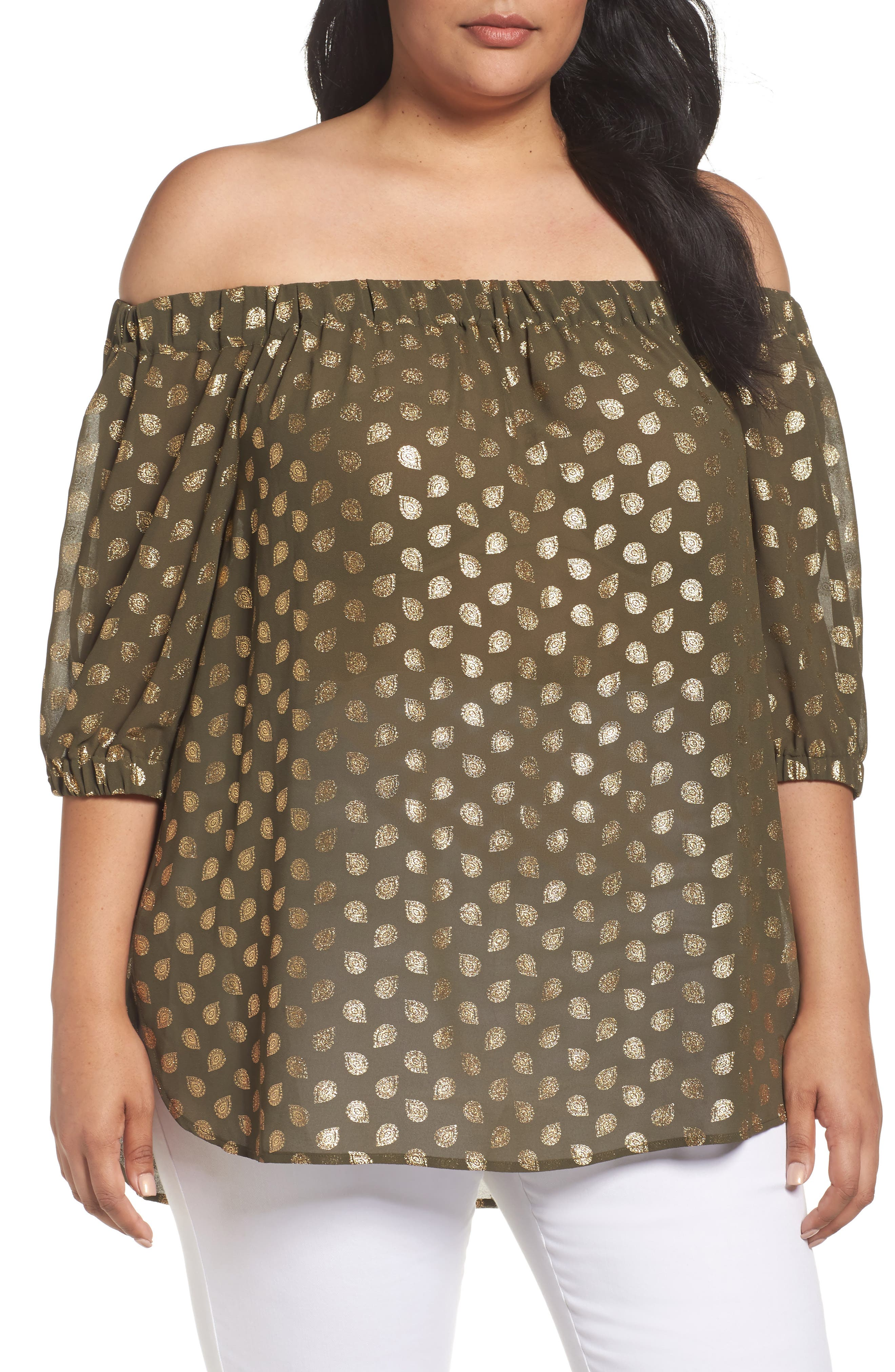 MICHAEL Michael Kors Bergalia Foiled Print Off the Shoulder Top (Plus Size)