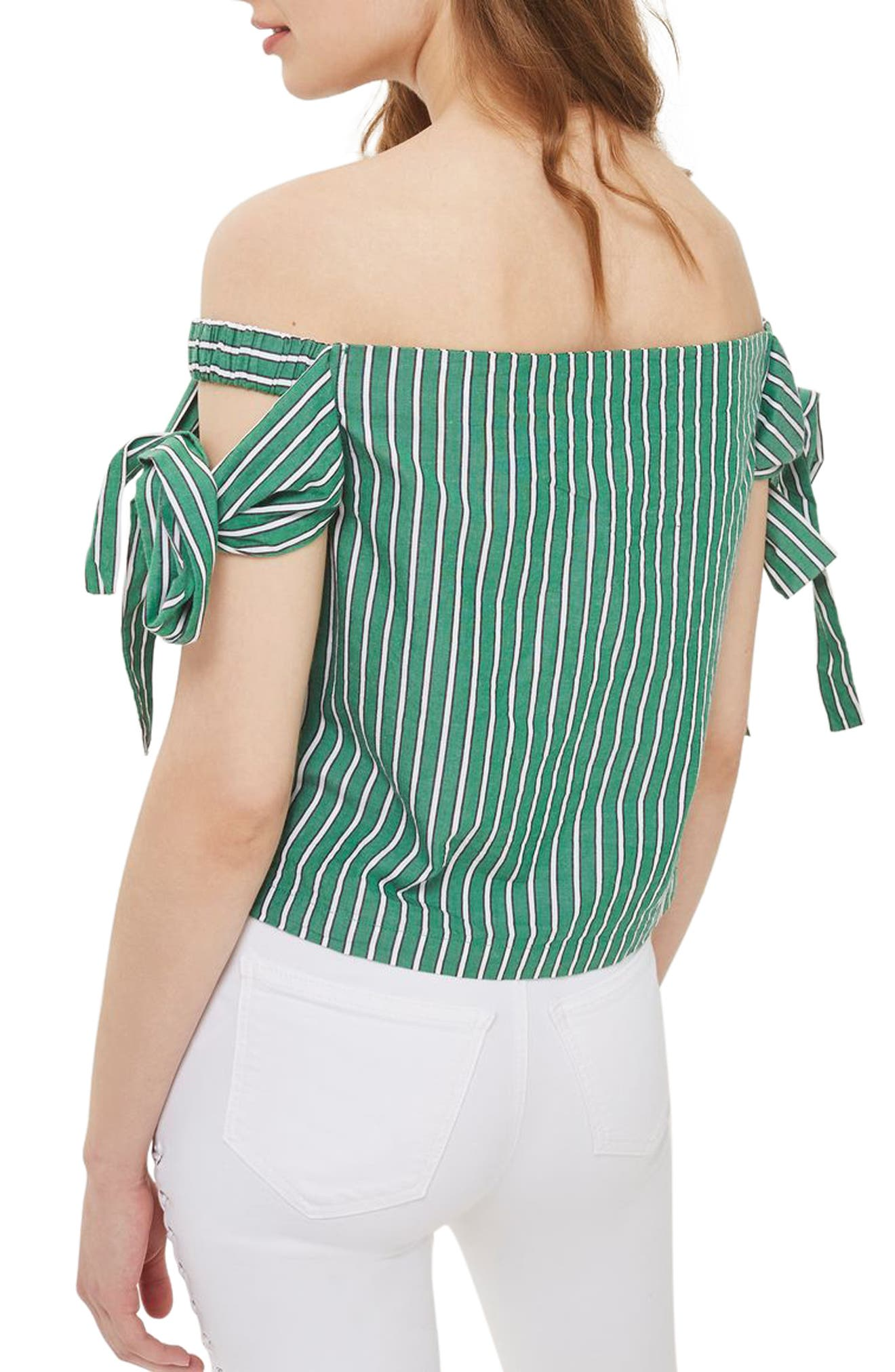 Alternate Image 3  - Topshop Bardot Tie Sleeve Stripe Top